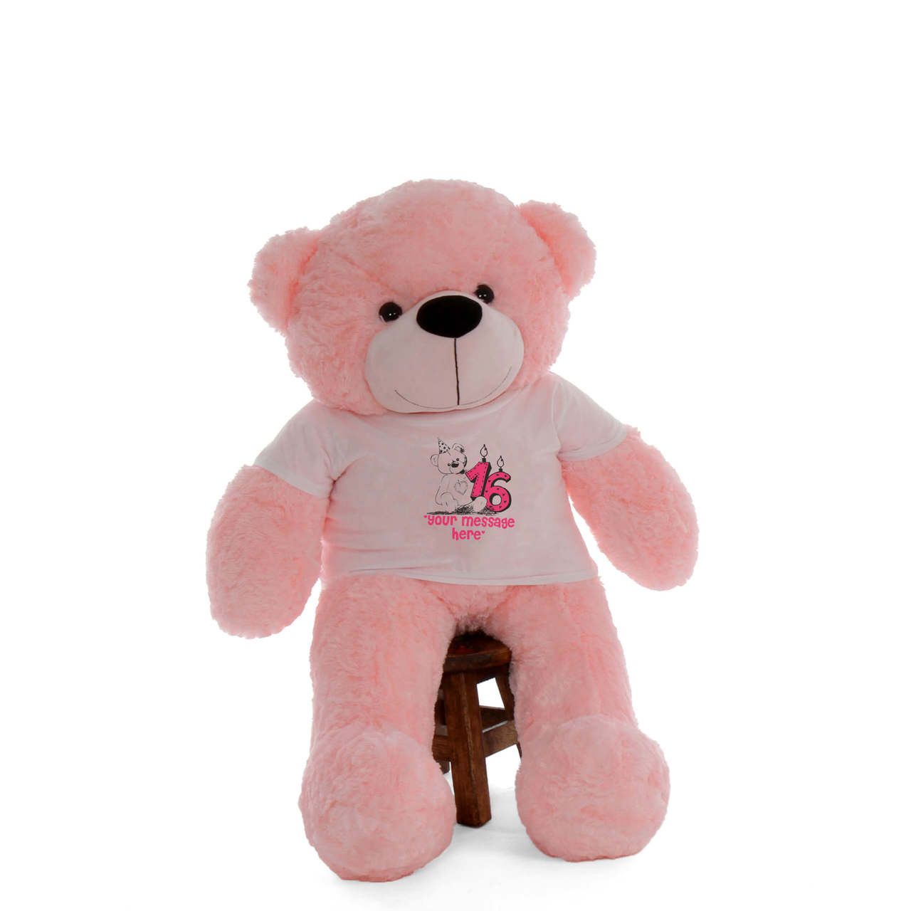 48in Pink Lady Cuddles Make a Wish Personalized Birthday Teddy Bear