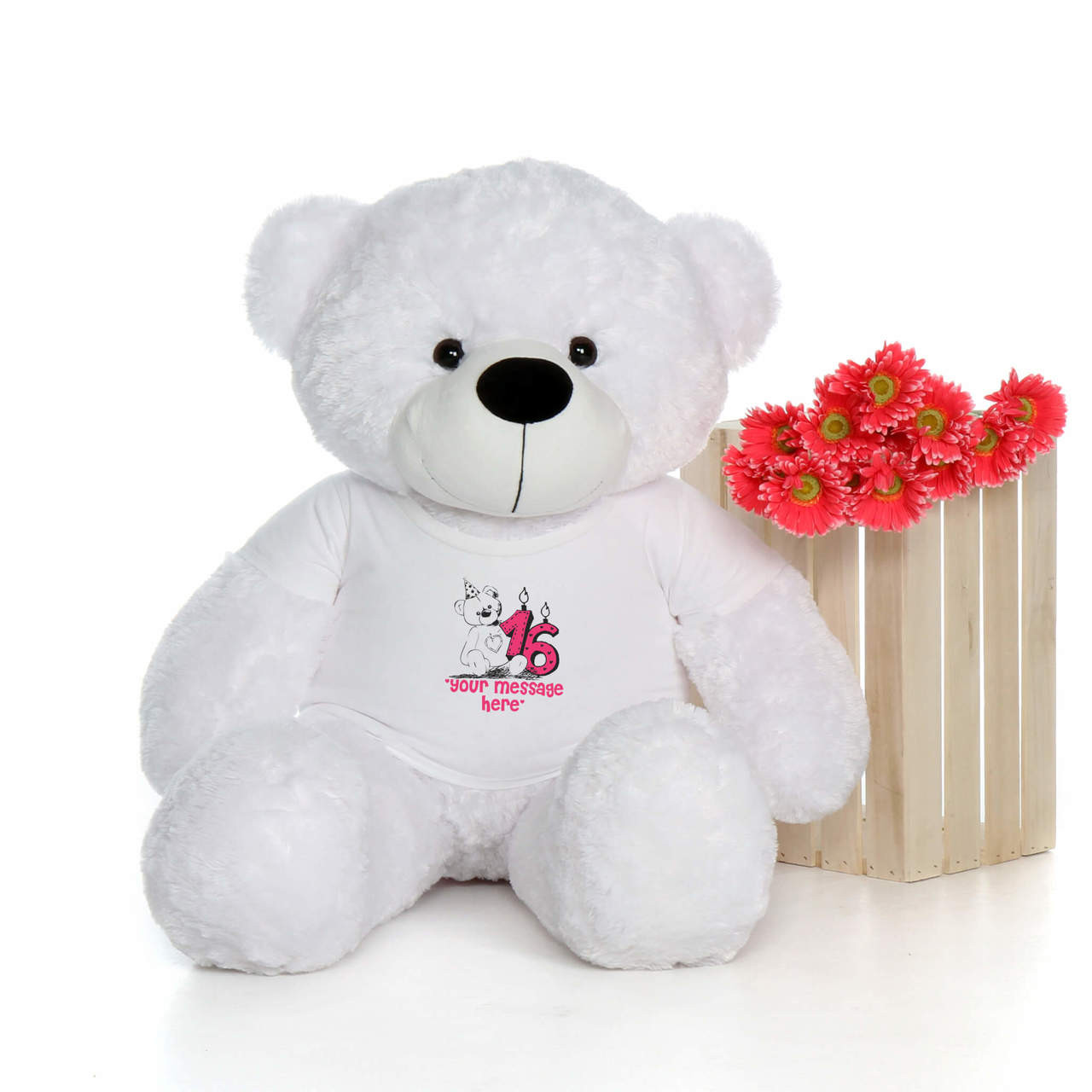 48in White Coco Cuddles Make a Wish Personalized Birthday Teddy Bear
