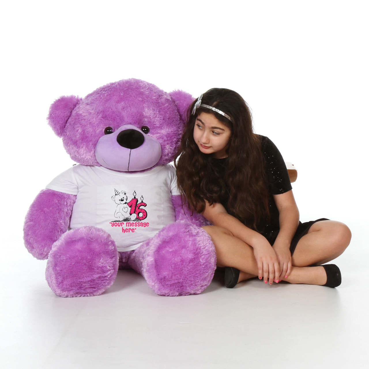 48in Purple DeeDee Cuddles Make a Wish Personalized Birthday Teddy Bear