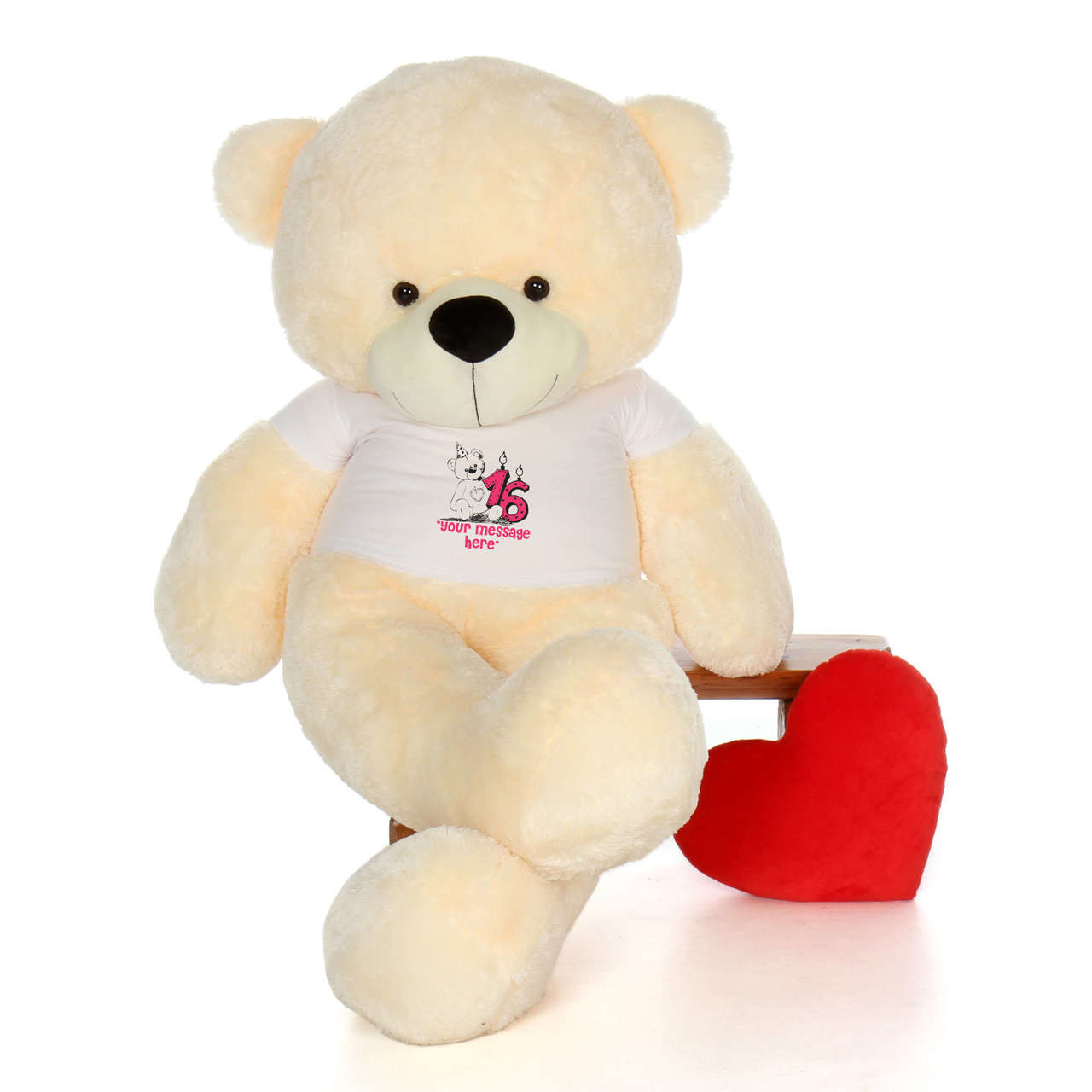 72in Vanilla Cozy Cuddles Make a Wish Personalized Birthday Teddy Bear