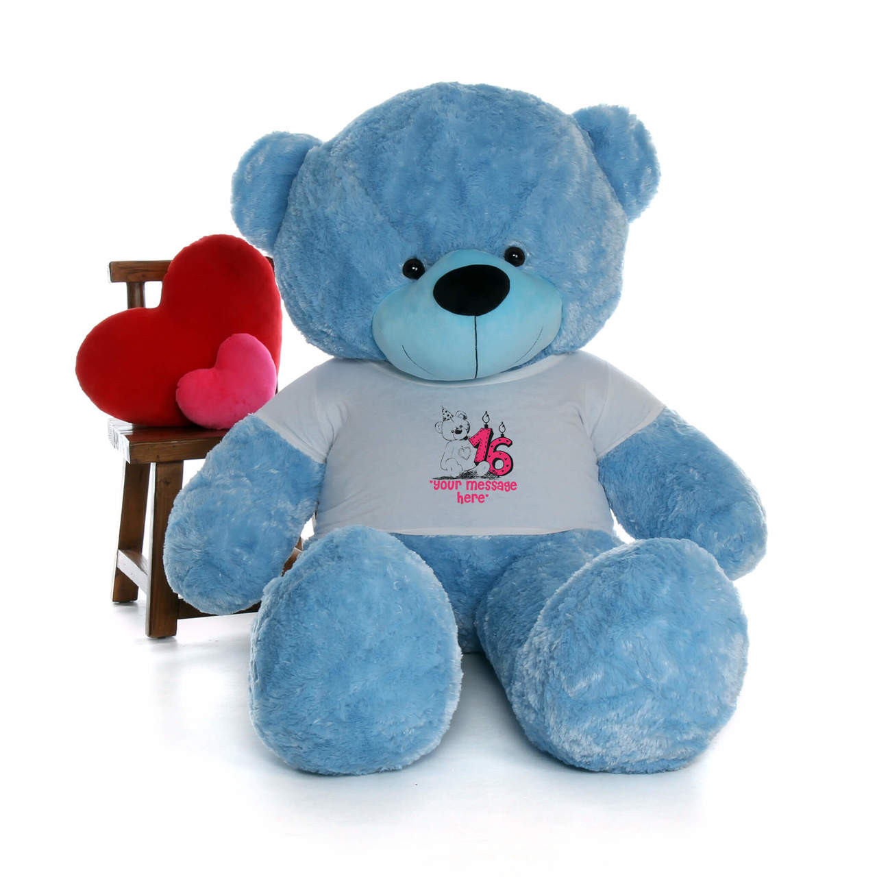 72in Blue Happy Cuddles Make a Wish Personalized Birthday Teddy Bear