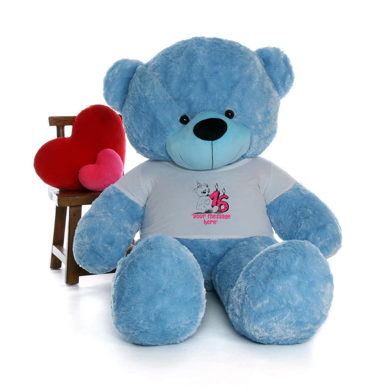 72in Blue Happy Cuddles Make a Wish Personalized Birthday Teddy Bear