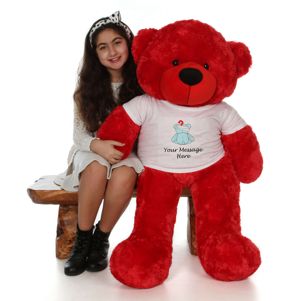 4 Foot  Adorable Red Teddy Bear with Bandage Get Well Soon T-shirt