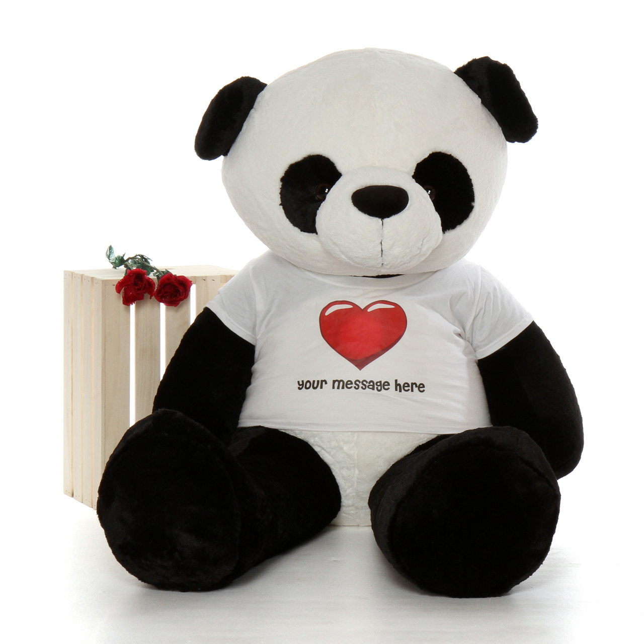 60in Huge Panda Precious Xiong in Personalized Red Heart shirt