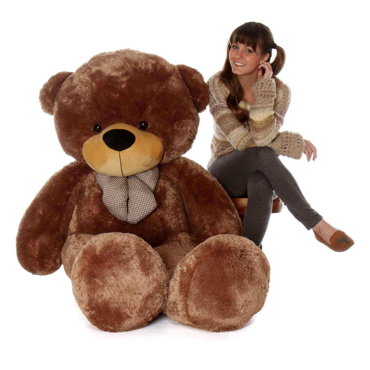 Life Size Mocha Brown Teddy Bear Sunny Cuddles 72in