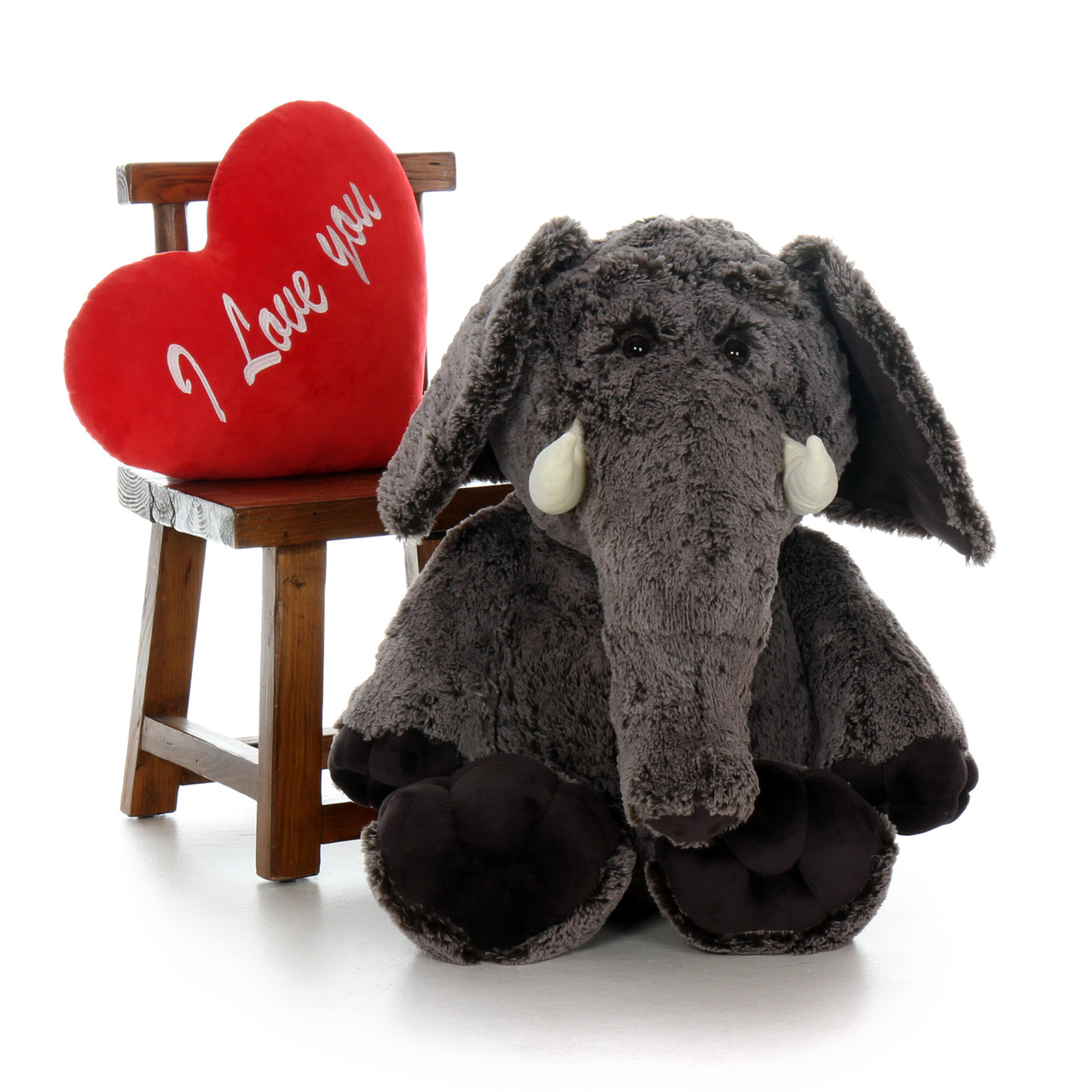 3ft Big Stuffed Elephant with Plush Red Heart from Giant Teddy