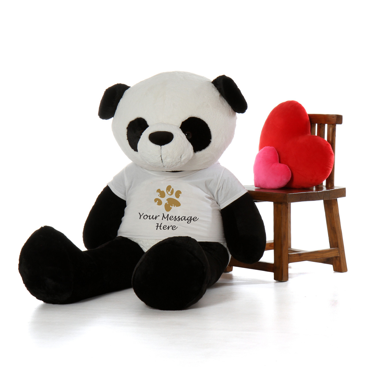 60in Life Size Panda Teddy Bear with Personalized Paw print shirt