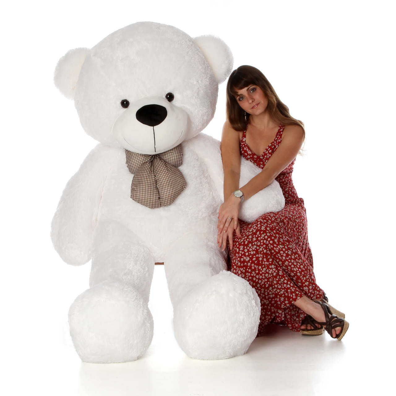 6ft Life Size Coco Cuddles White Teddy Bear