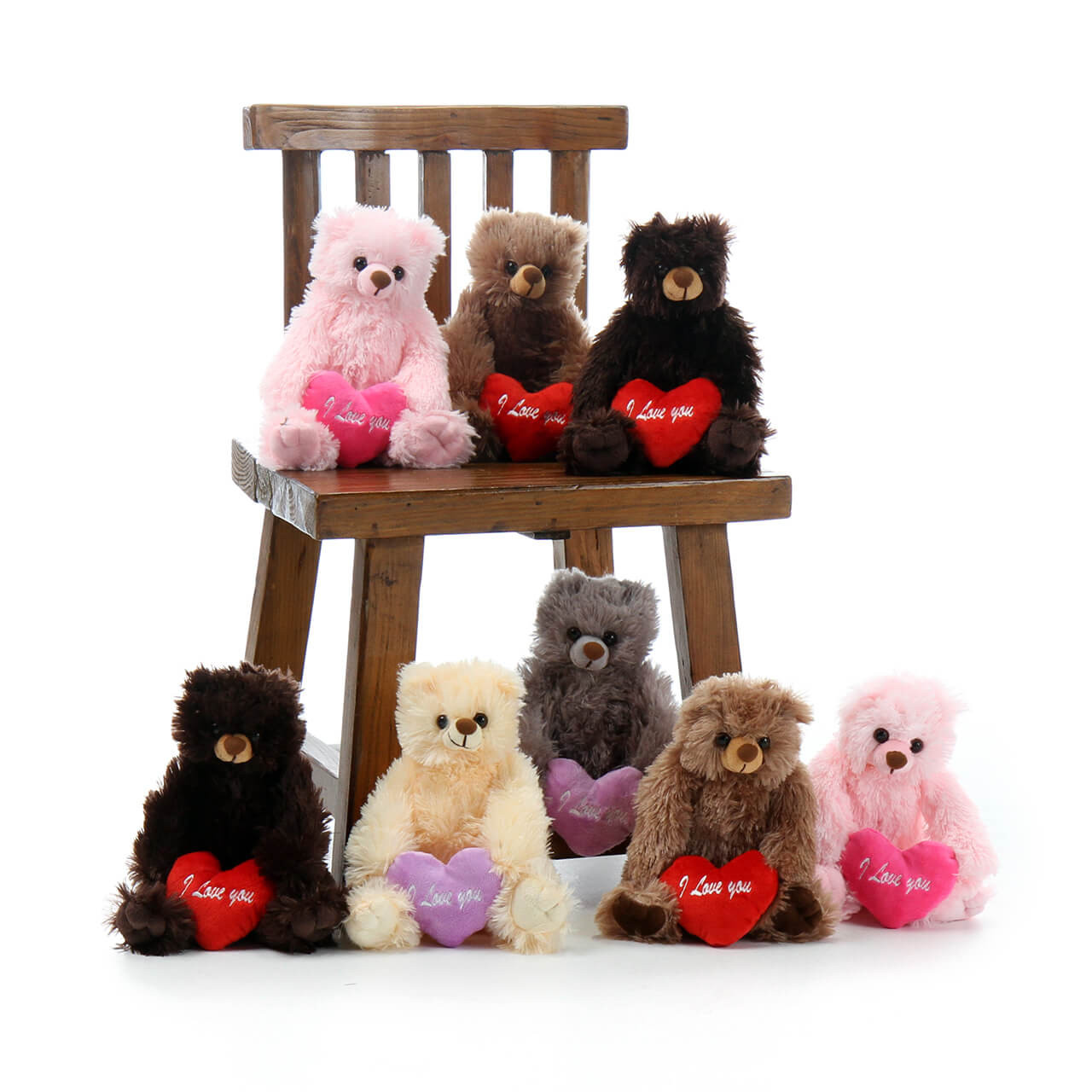 Cute Super Soft Teddy Bears with I love You Heart Pillows
