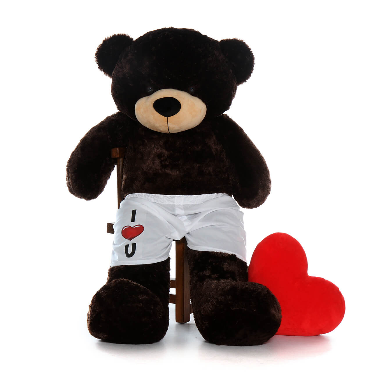 60 inch Chocolate Brown Teddy Bear with I Love You Boxers