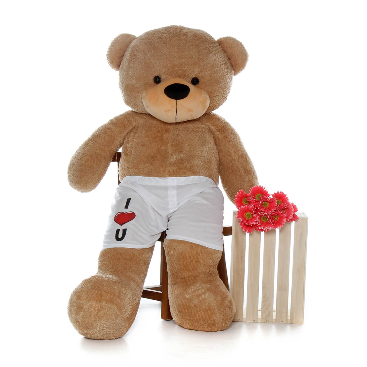 5 Foot Amber Brown Teddy Bear in Boxers - Perfect Gift for Girlfriend