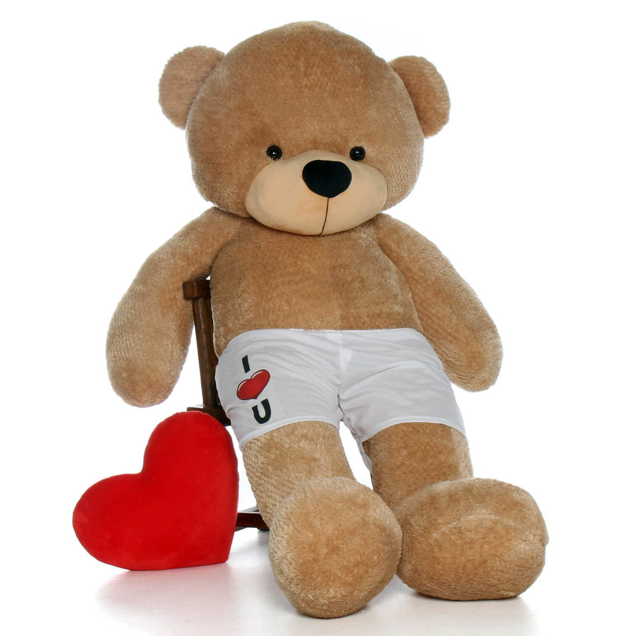 "6 Foot Amber Brown Teddy Bear with ""I Heart You"" Boxer Message"