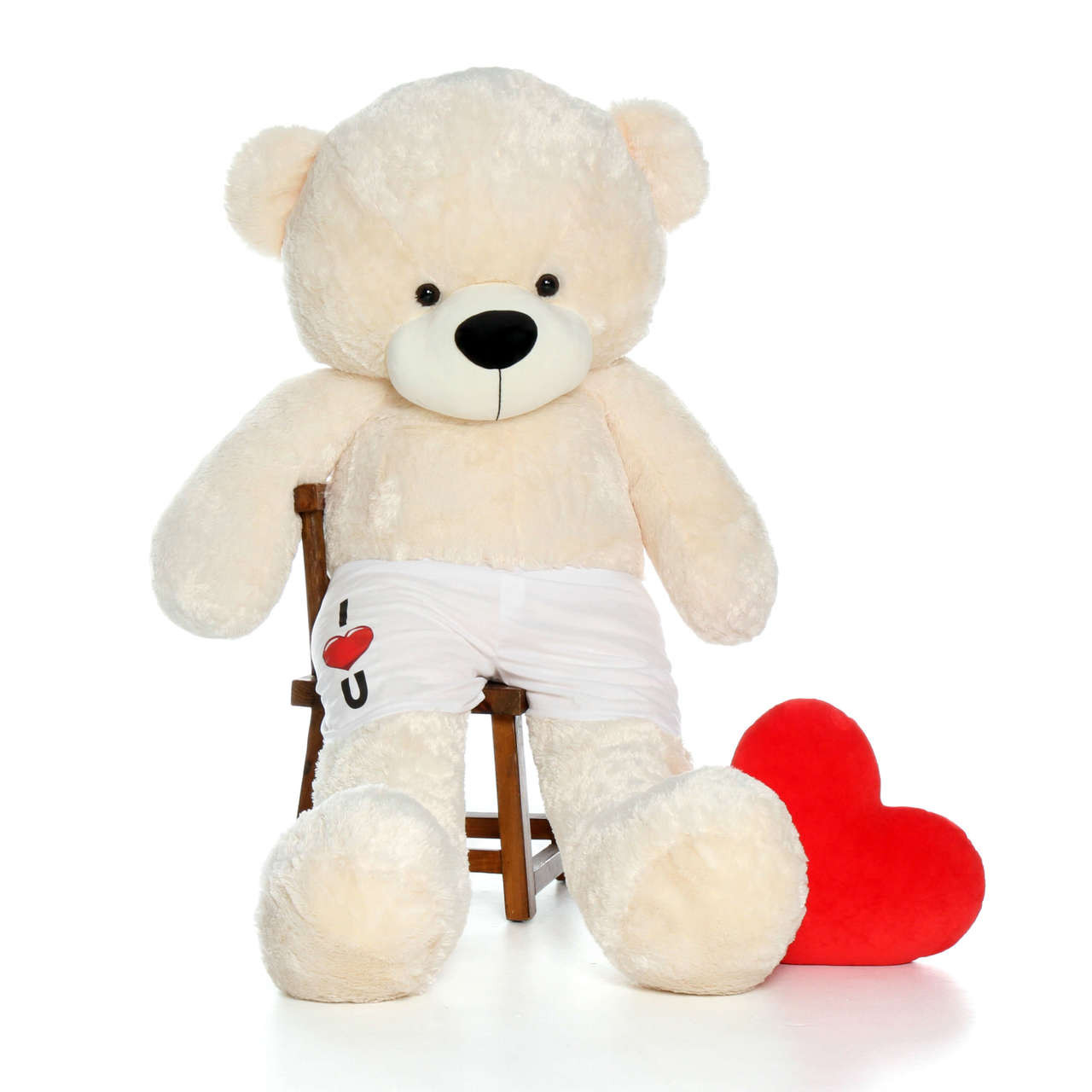 6 Foot Cream Giant Teddy Bear with custom I Love You Boxers