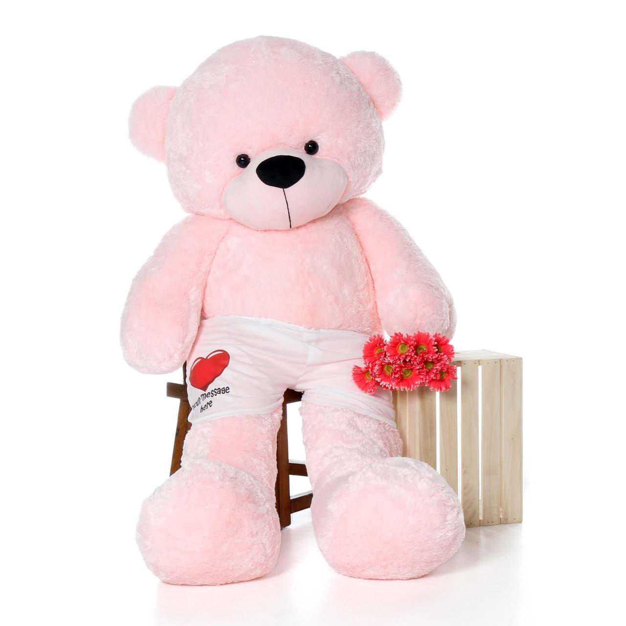 6 Foot Pink Giant Teddy Bear with Personalized Heart Boxers