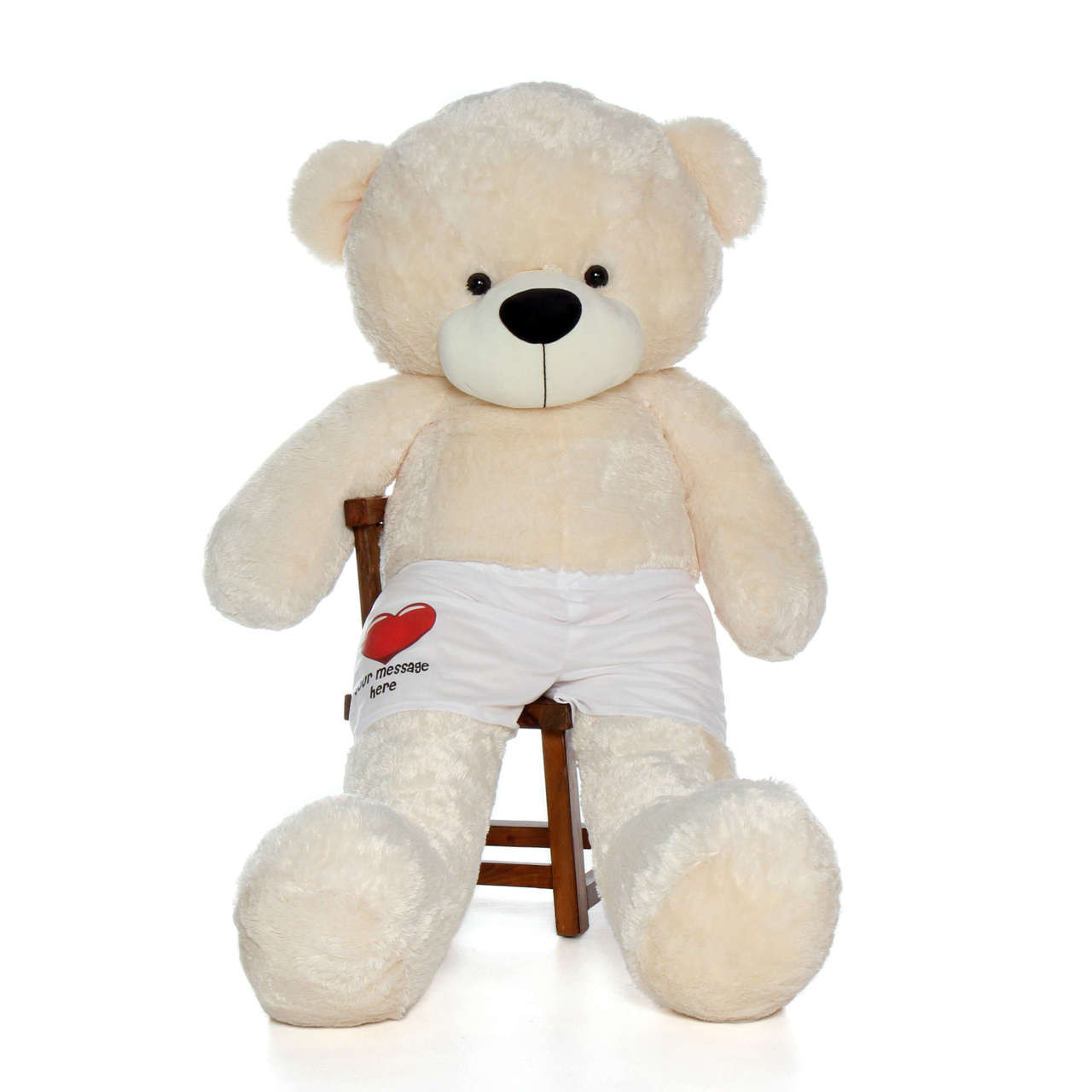 Life Size 6 Foot Teddy Bear in Cream with Personalized Boxers