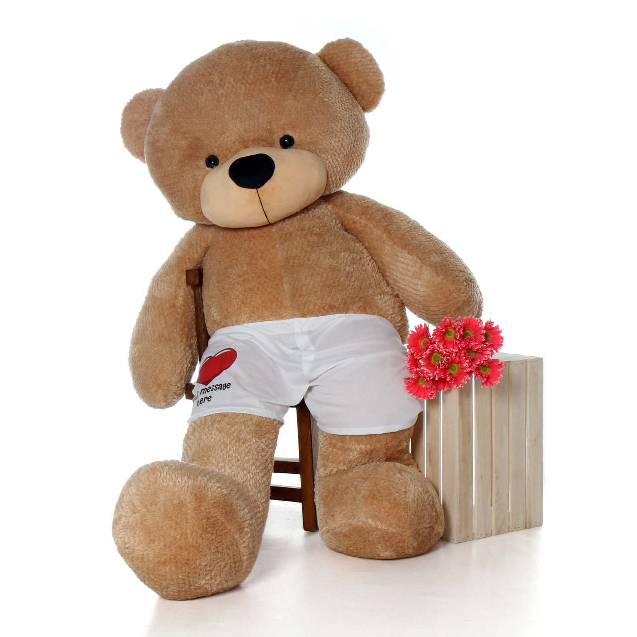 72 inch Giant Amber Brown Cuddles Teddy Bear with Personalized Boxers