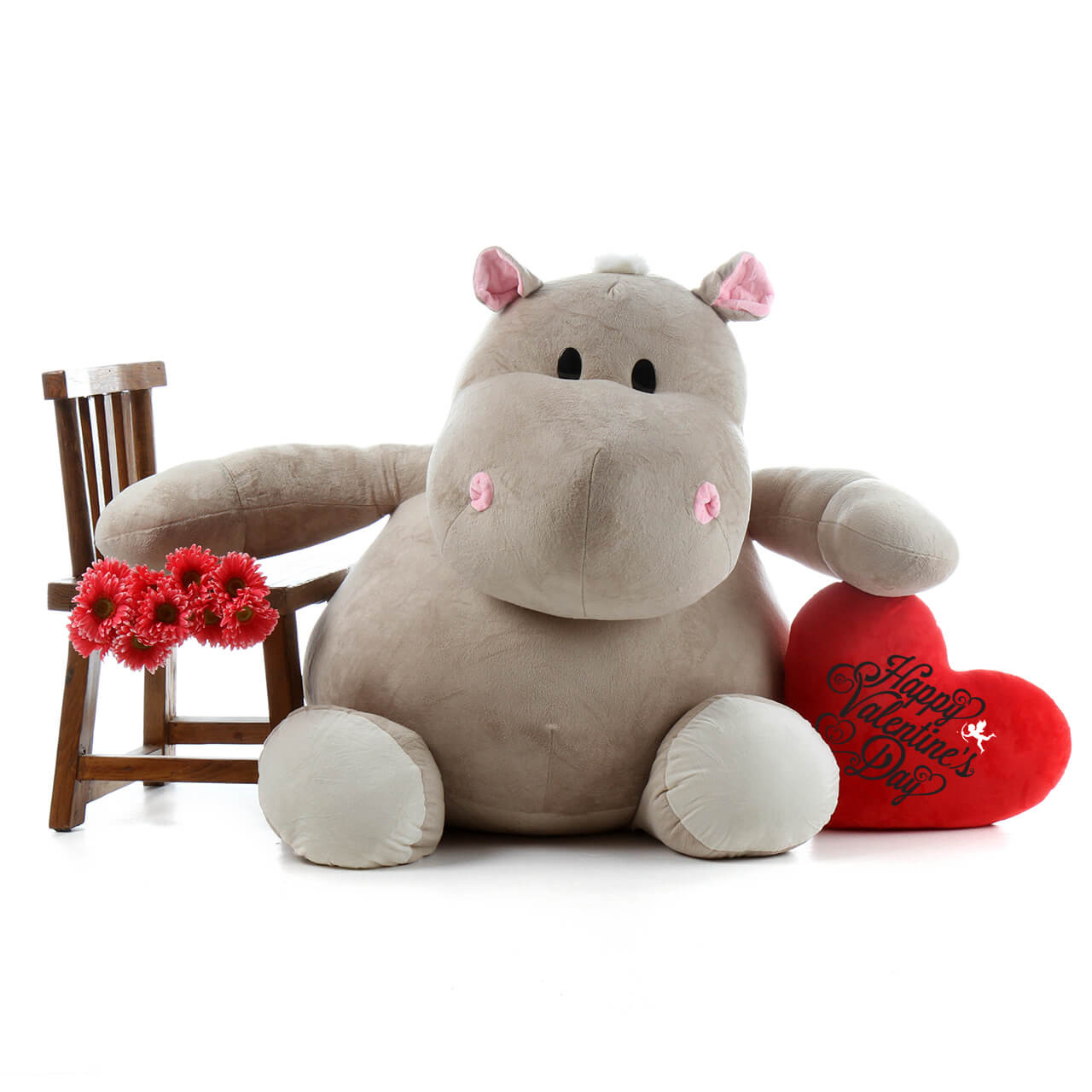 54in Life Size Happy Valentine S Day Hippo And Plush Red Heart Pillow