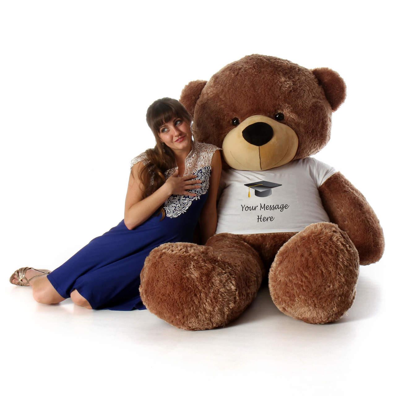 6 Foot Brown Graduation Teddy Bear