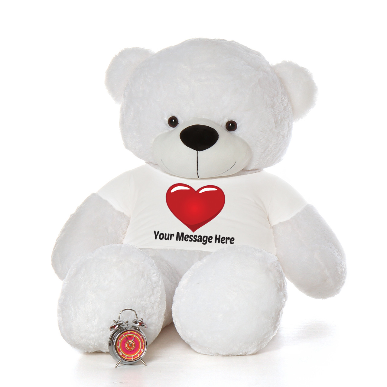 6 Foot Giant White Teddy Bear with Personalized Red Heart T-shirt