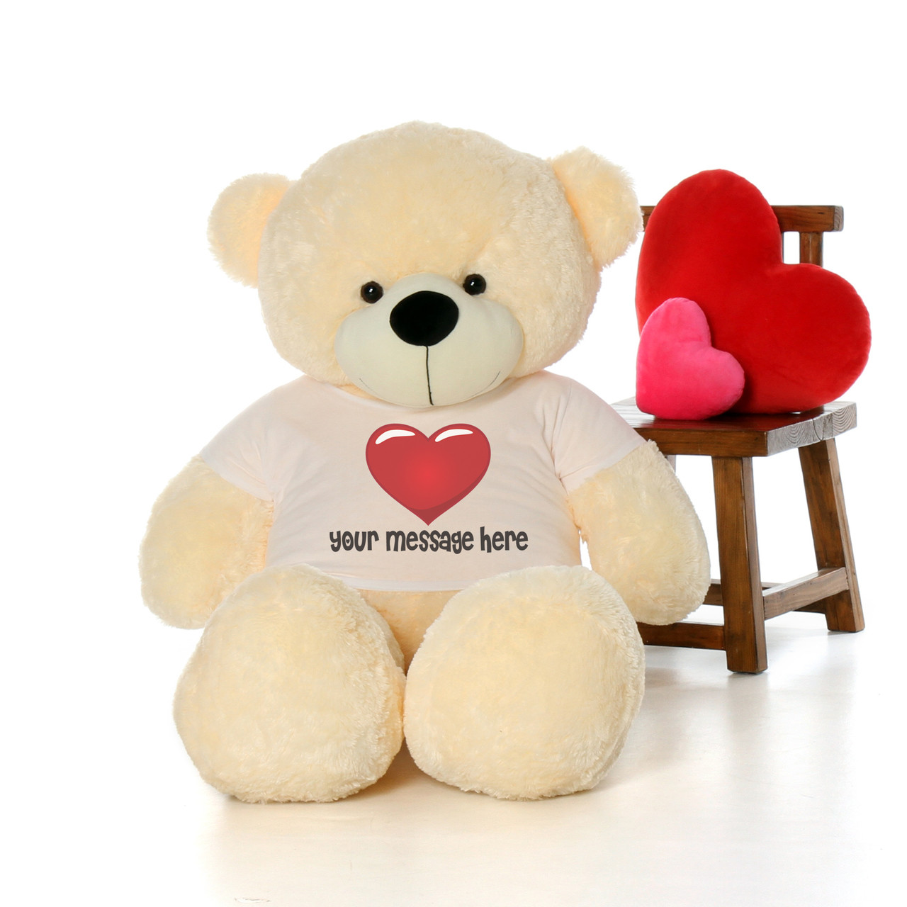5 Foot Adorable Sweet Cream Teddy Bear with Red Heart T-shirt