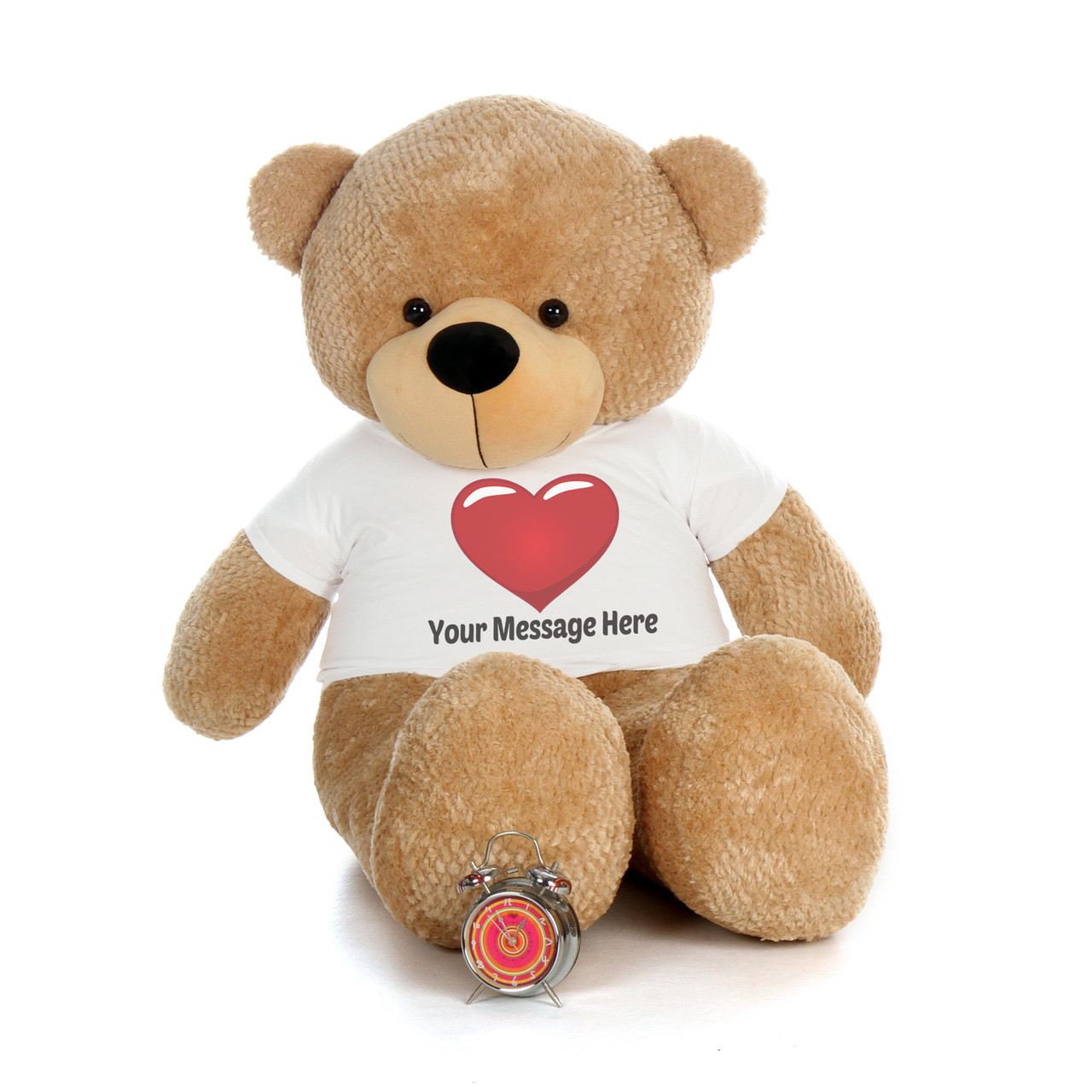 5 Foot Amber Brown Teddy Bear with Personalized Red Heart T-shirt