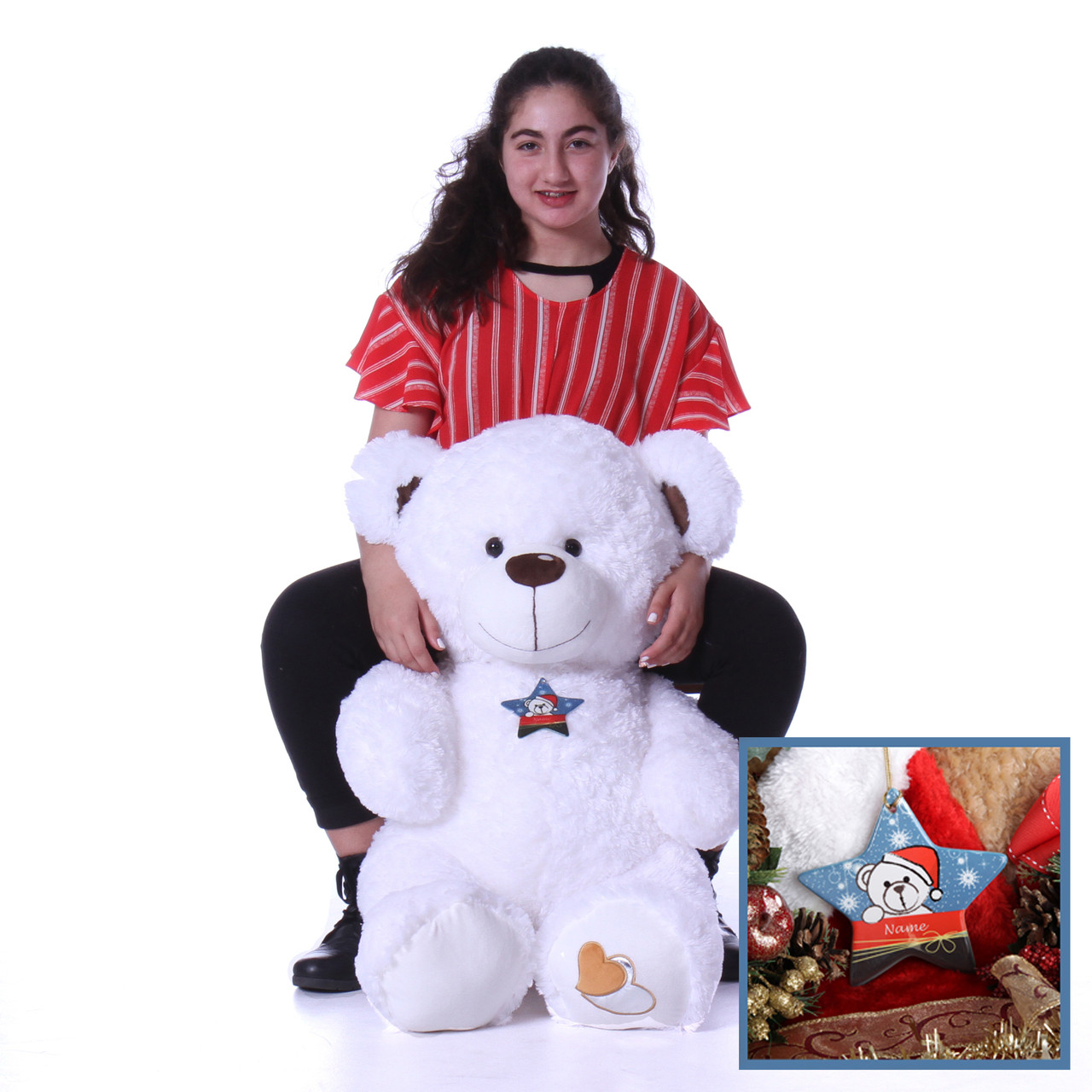 4 Foot White Teddy Bear with Personalized Star Ornament - Unique Christmas Present