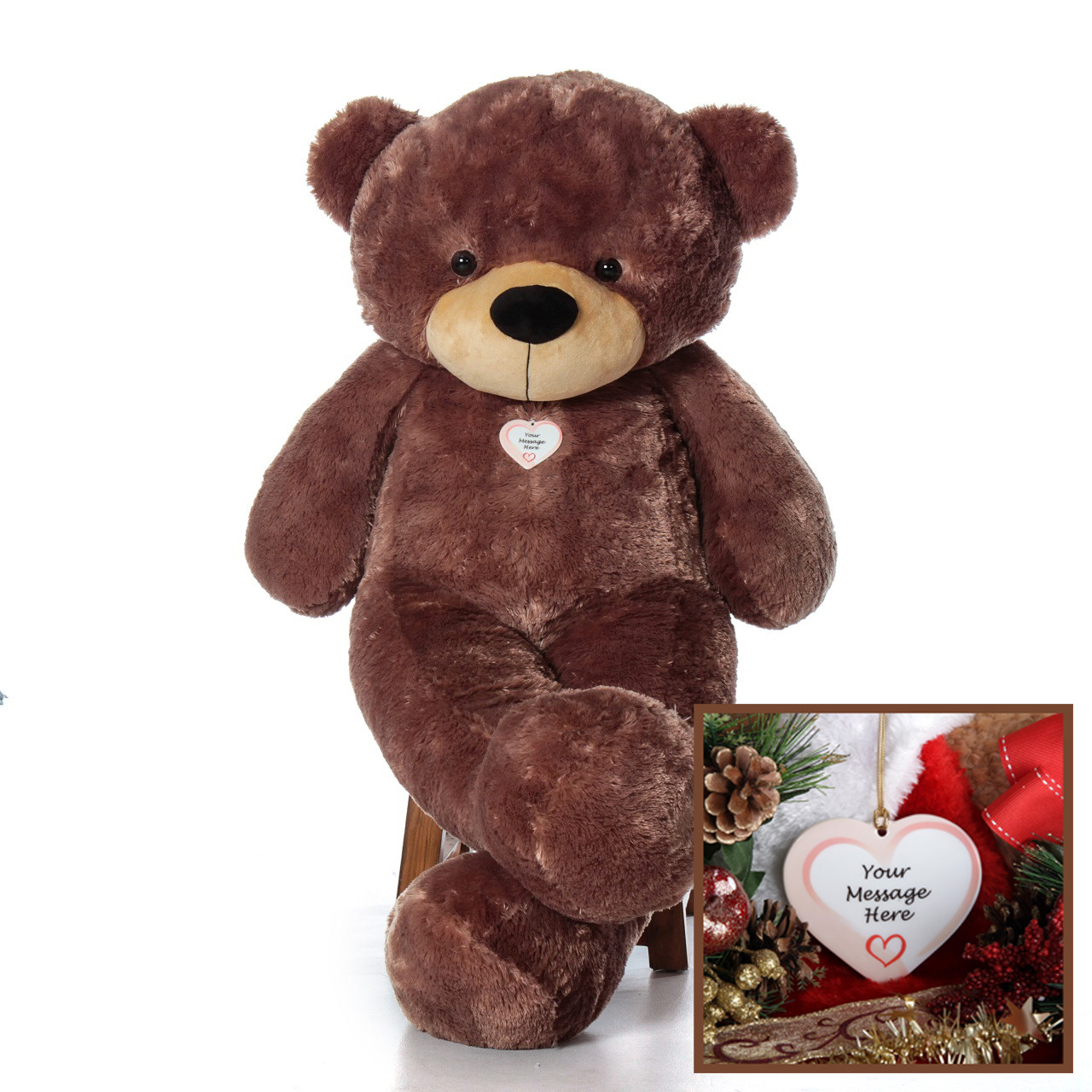 5 Foot Mocha Brown Teddy Bear with Personalized Christmas Ornament Package - Life Size Giant Cuddles