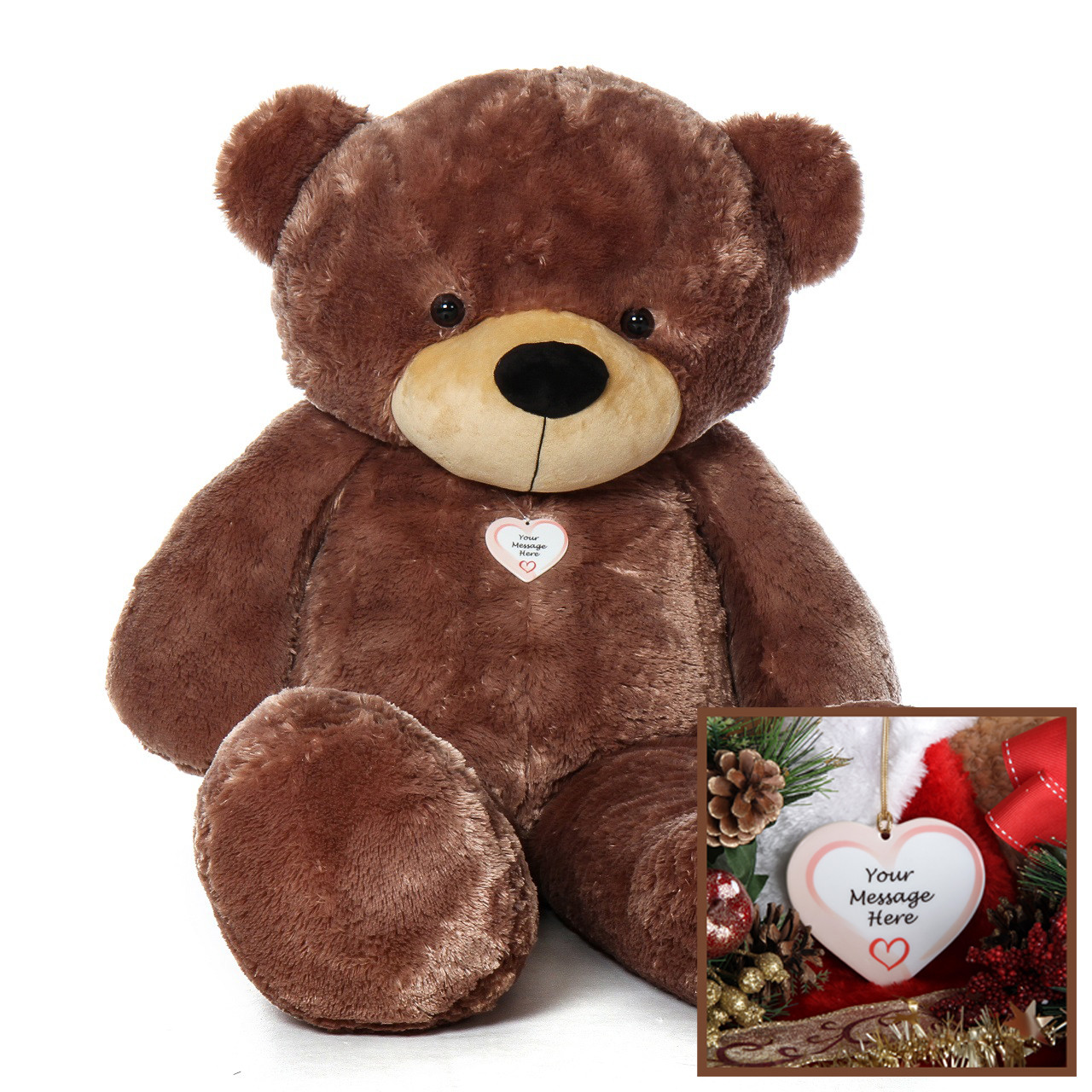 Giant Teddy 5 Foot Christmas Teddy Bear with Personalized Heart Ornament