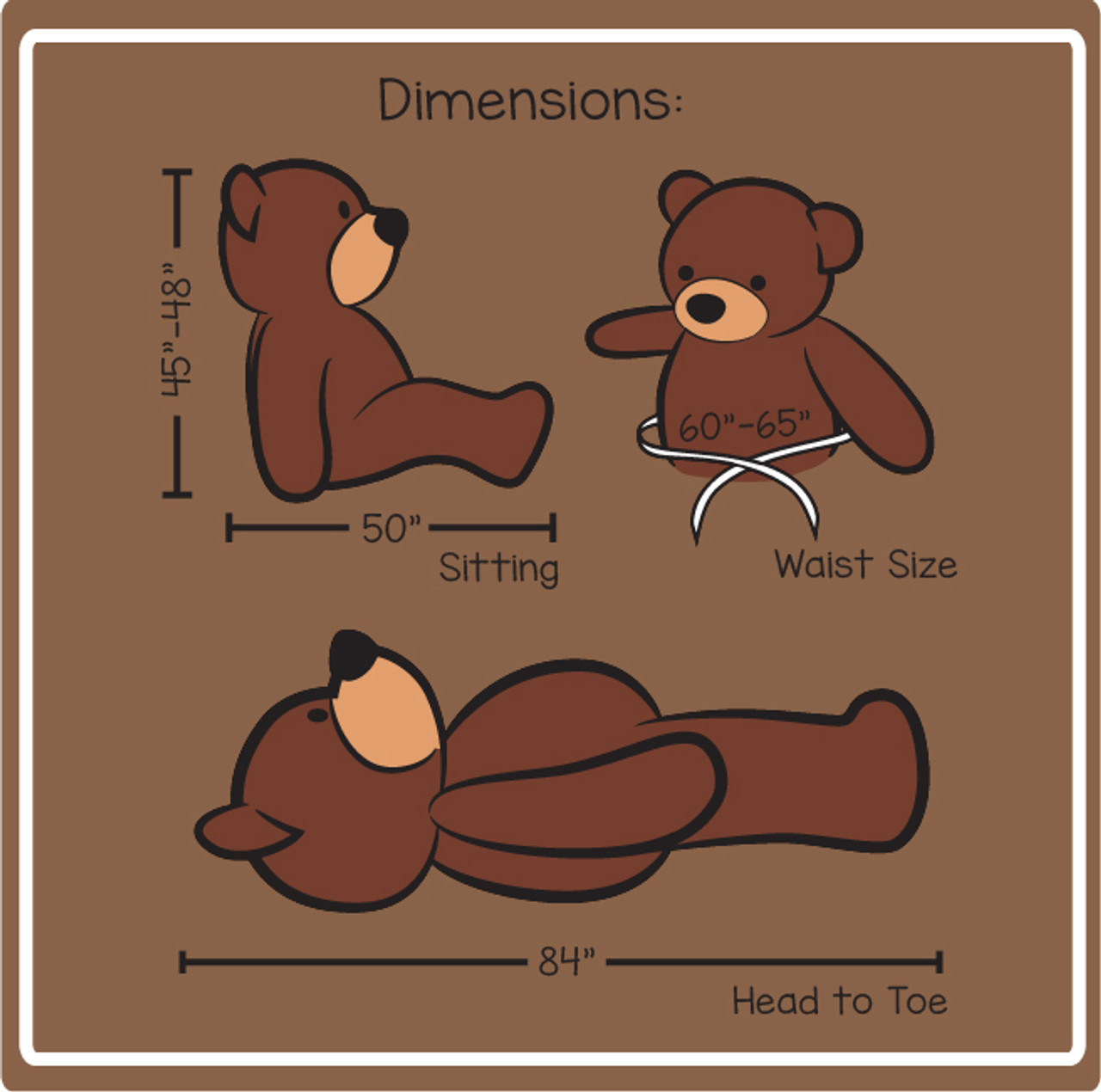 Dimensions for 7ft Sunny Cuddles