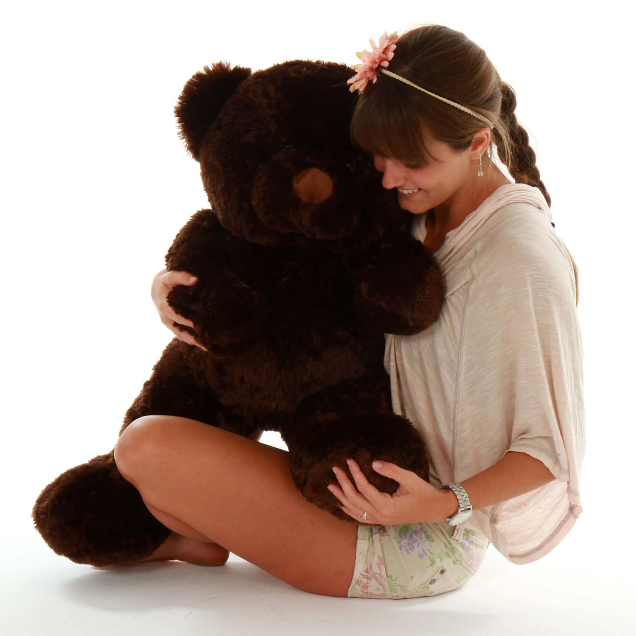 Snuggly huge 2ft 6in dark brown teddy bear Munchkin Chubs