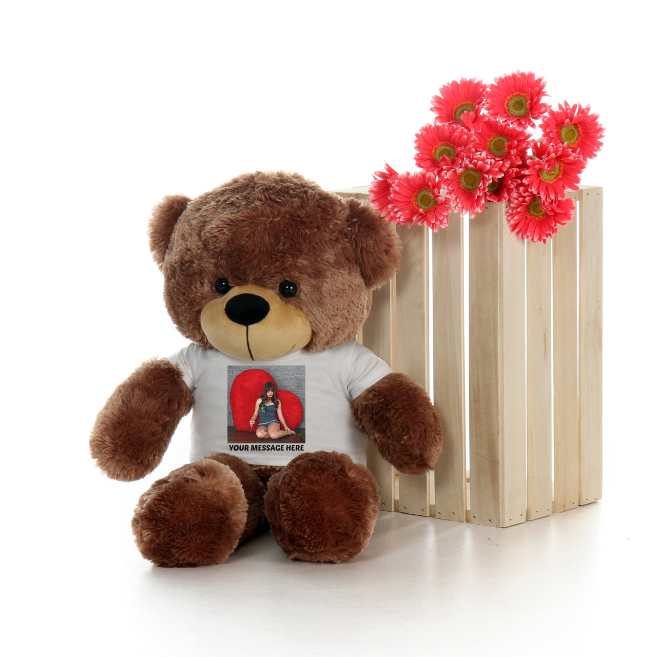 2 Foot Mocha Brown Teddy Bear with Personalized T-shirt