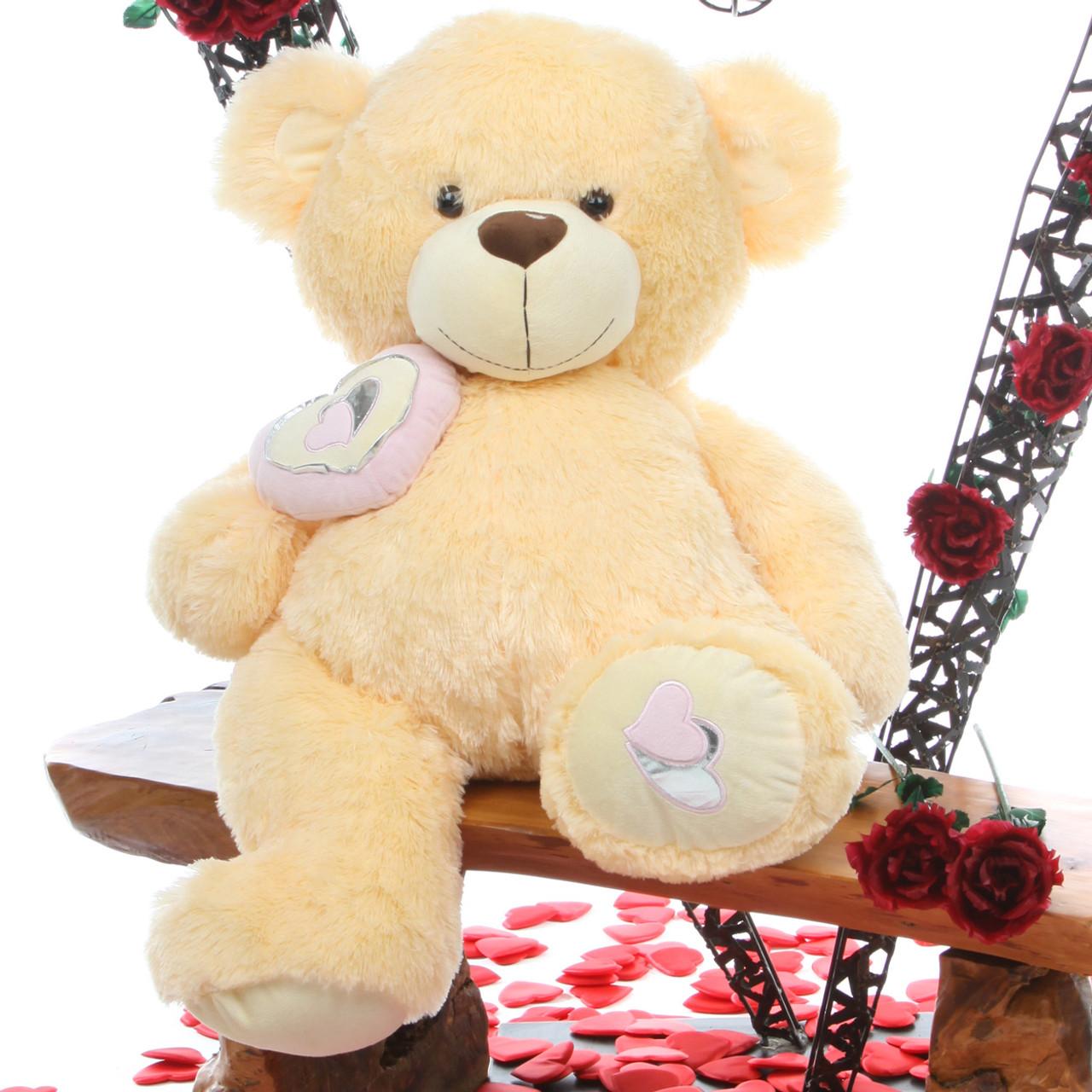 Honey Pie Big Love butterscotch cream teddy bear 30in