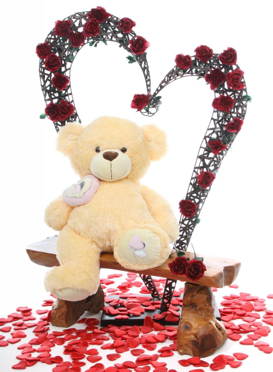 30in Honey Pie Big Love Cream Teddy Bear