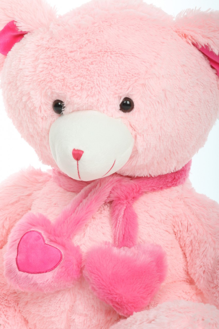 30in Candy Hugs Pink Teddy Bear with Heart Scarf