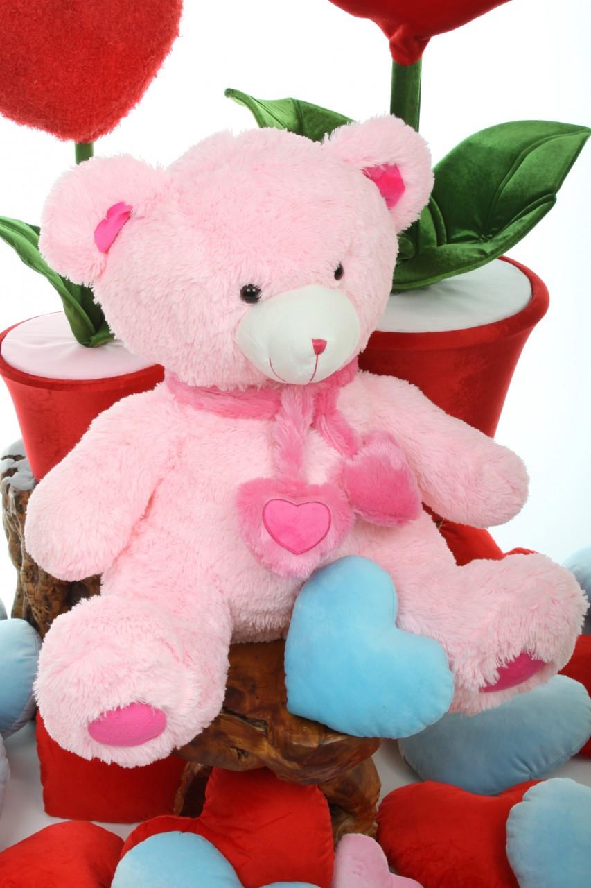 Oversized Candy Hugs pink teddy bear 30in