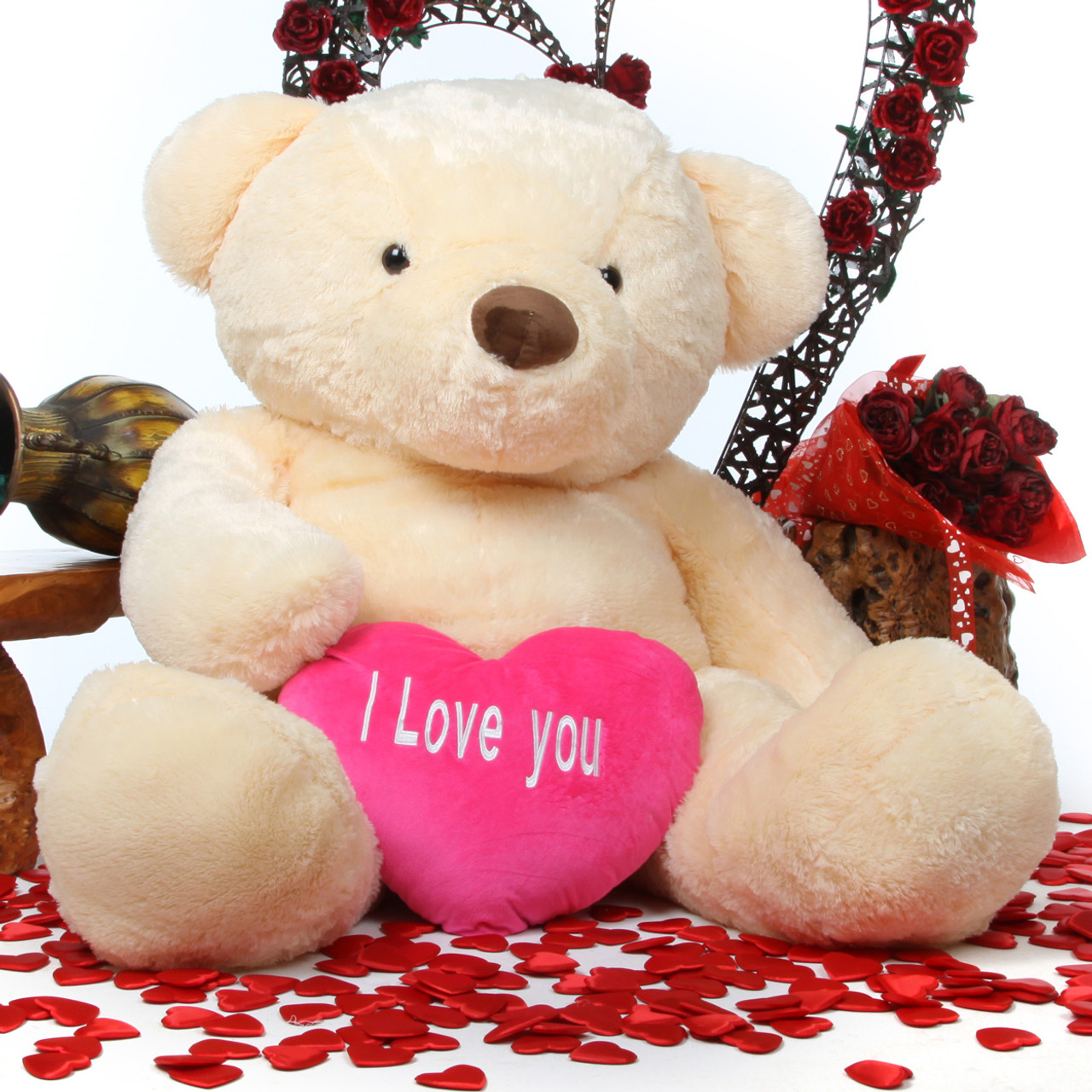 Smiley Love Chubs cream teddy bear with heart 55in