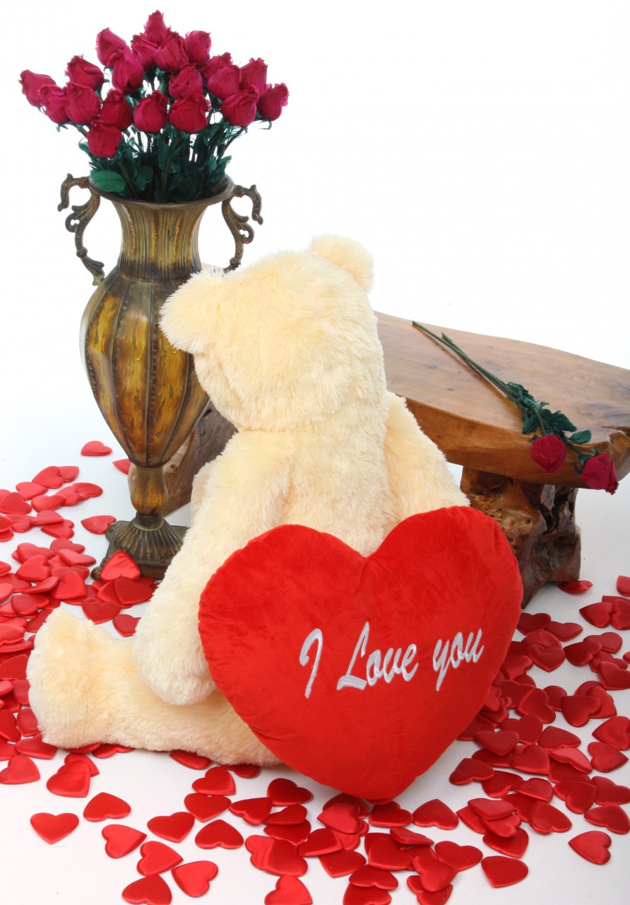 32in Tiny Heart Tubs cream teddy bear with I Love You heart