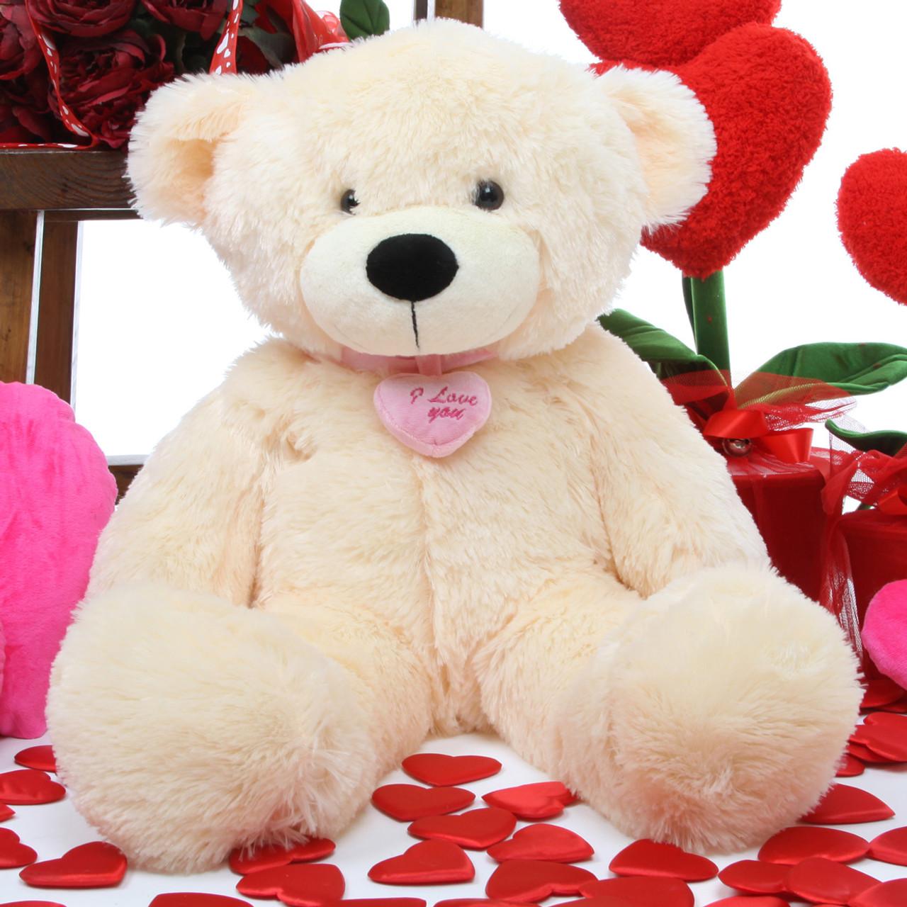Cozy L Cuddles I Love You Necklace Cream Teddy Bear 24in