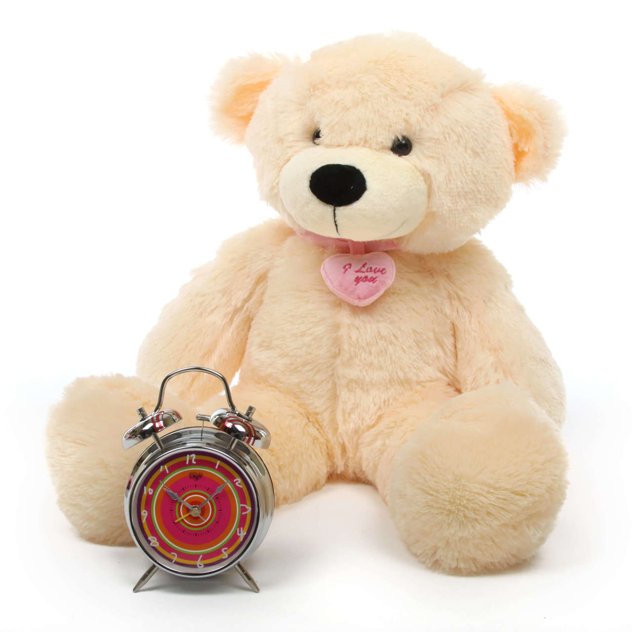 Cozy L Cuddles cream teddy bear with necklace 24in