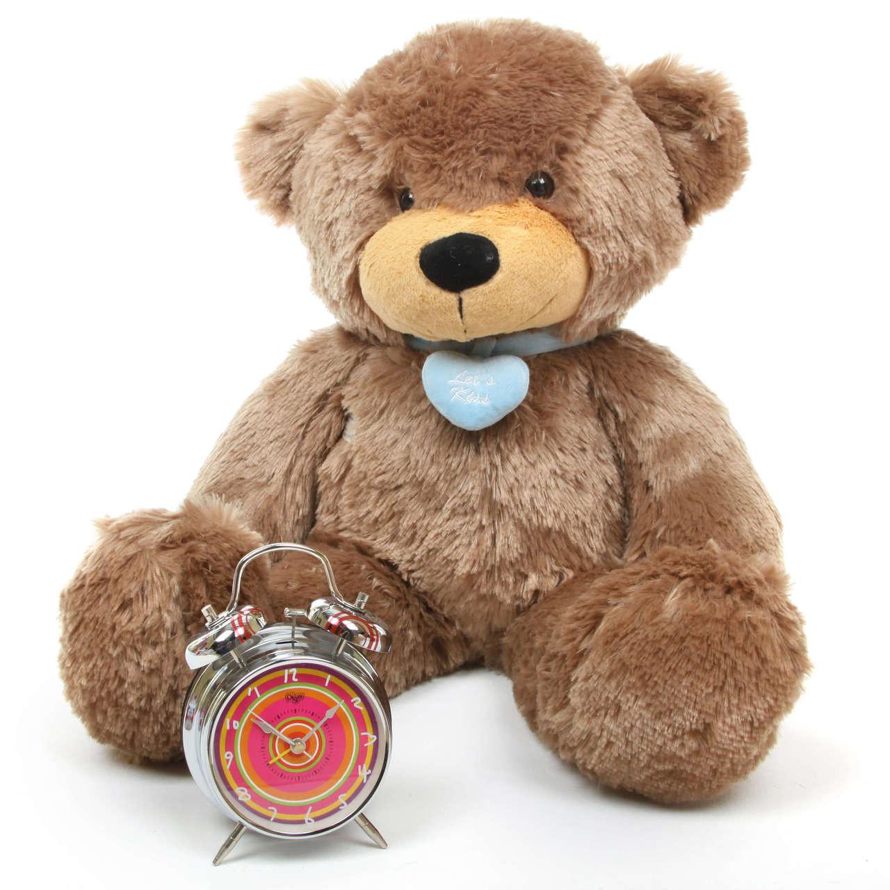 2ft Mocha Teddy Bear with Blue Heart Necklace Sunny Cuddles