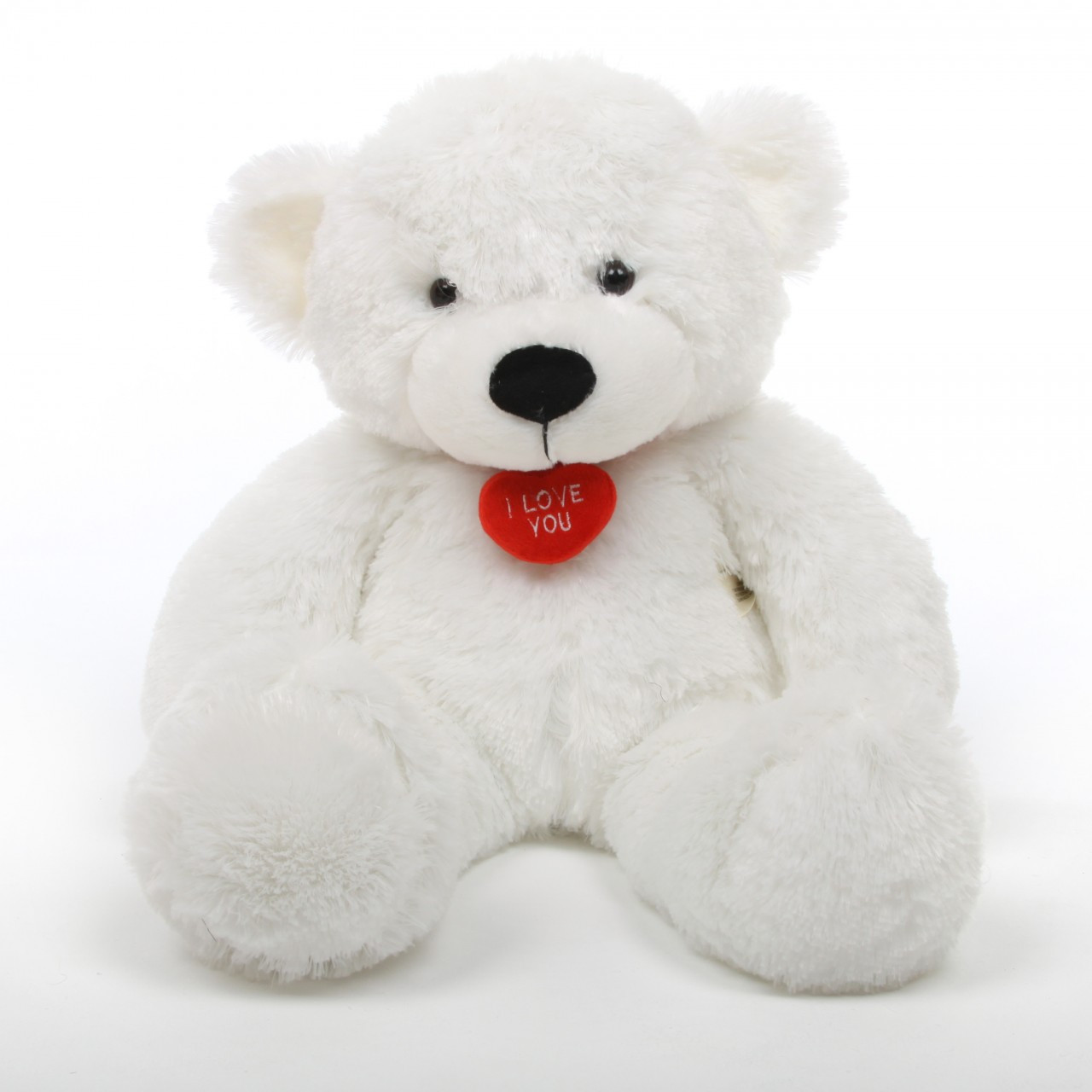 2ft White Coco Cuddles Teddy Bear with Red Necklace