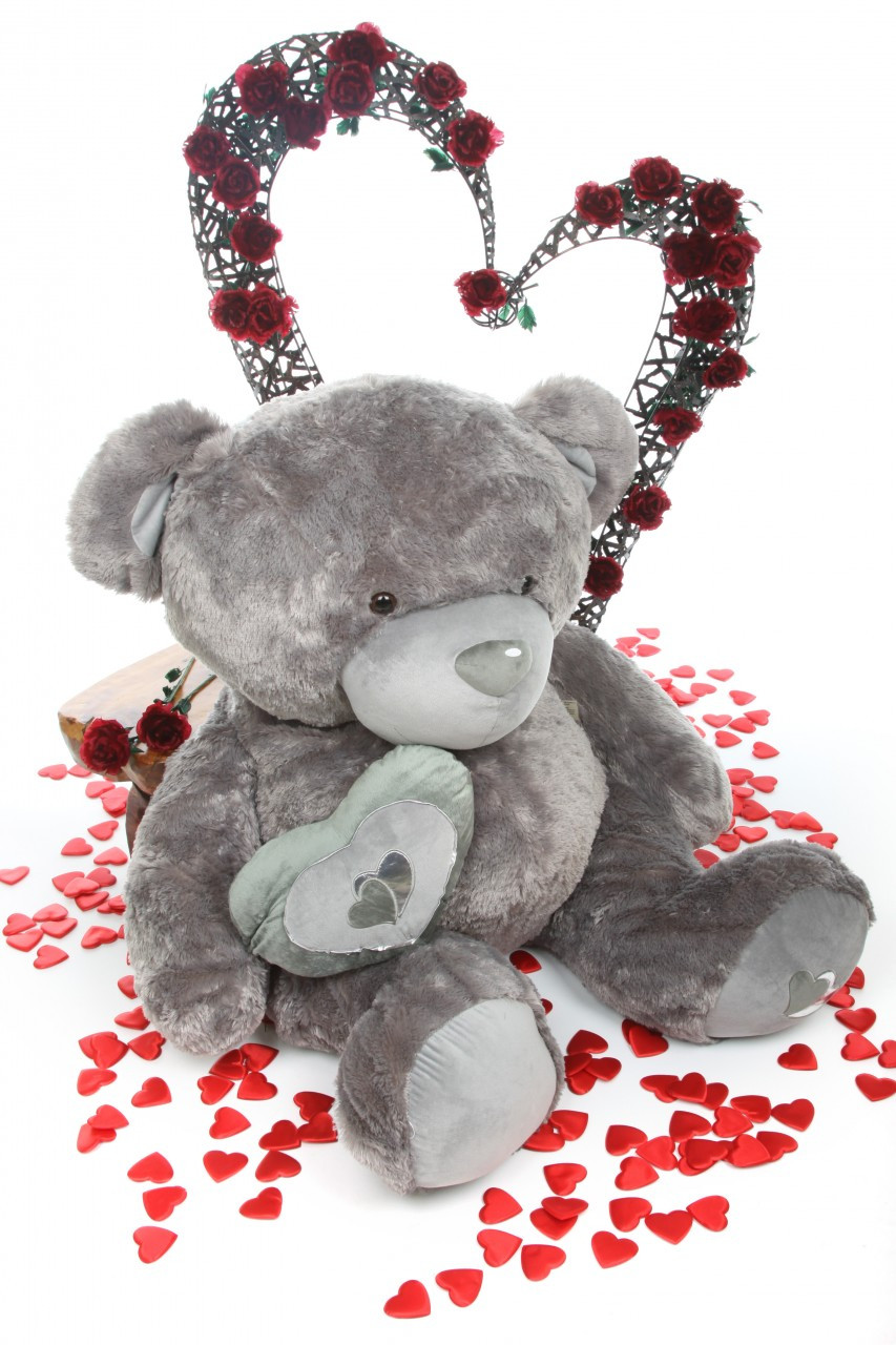5ft Life Size Snuggle Pie Big Love silver teddy bear