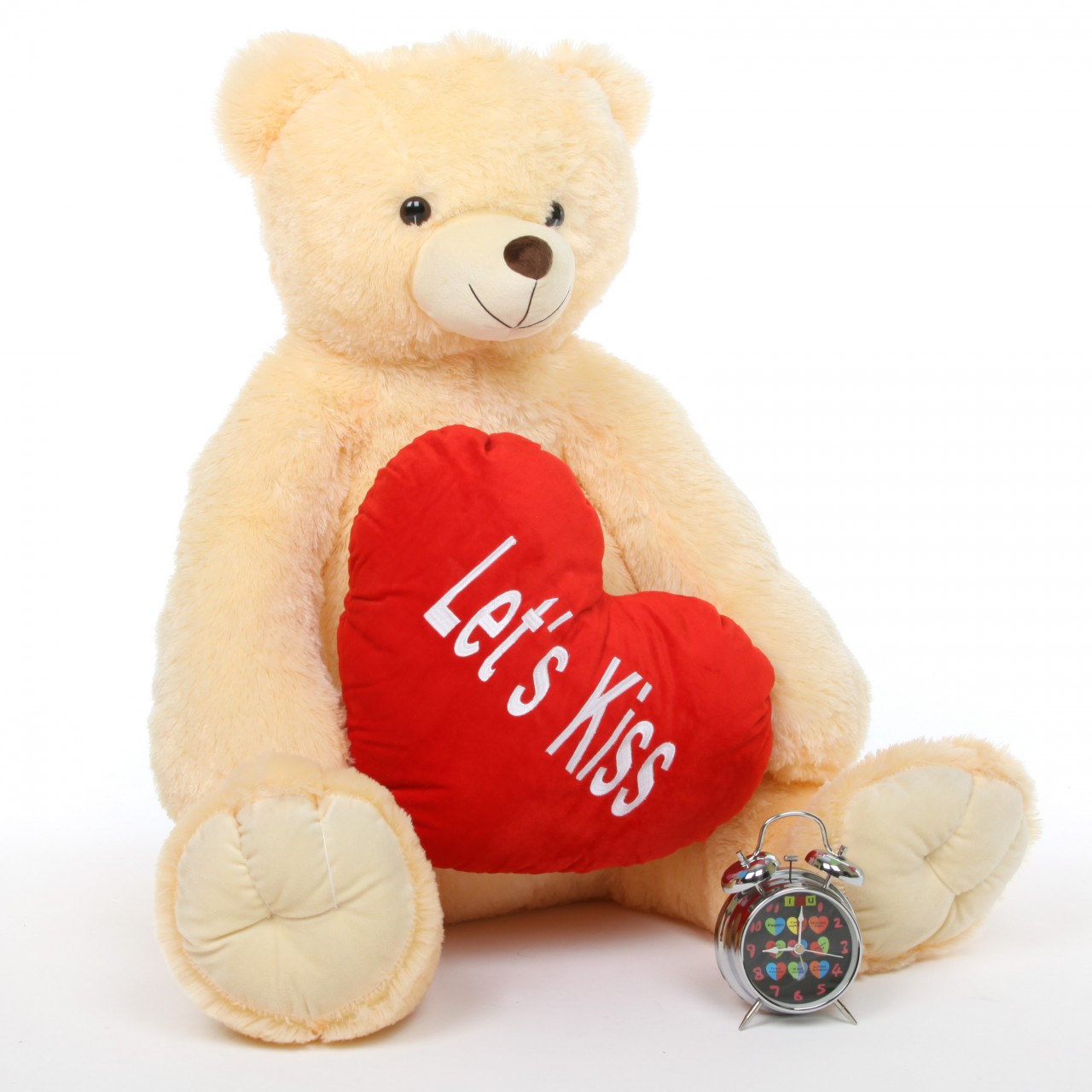 4ft Cream Teddy Bear Tiny Heart Tubs with Red Heart