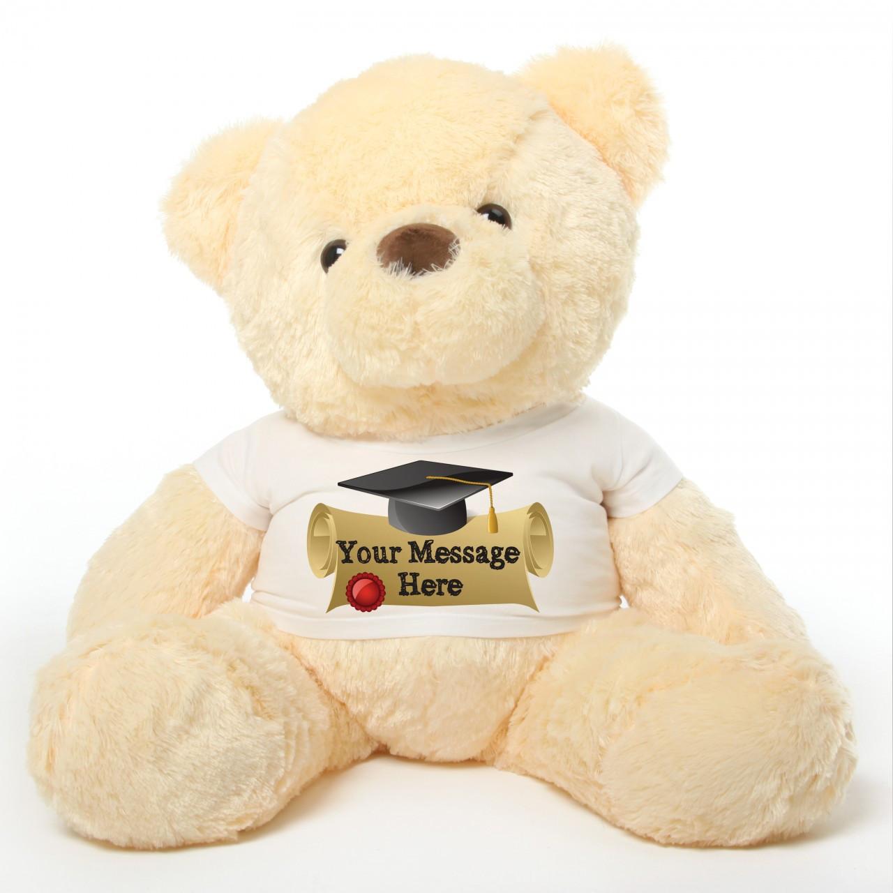 3ft Cream Graduation Teddy Bear Smiley Chubs