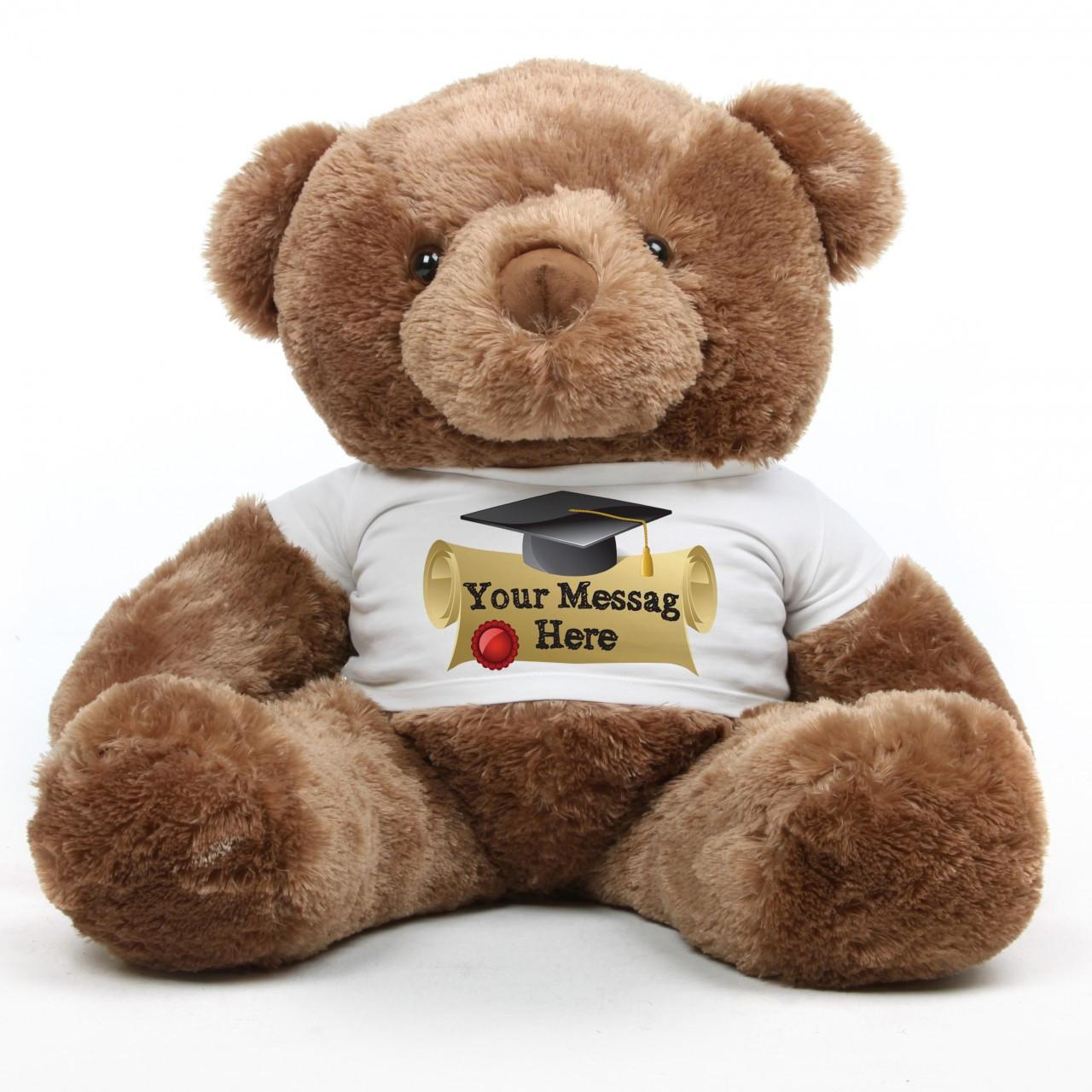 Big Chubs Personalized Mocha Brown Graduation Teddy Bear 38in
