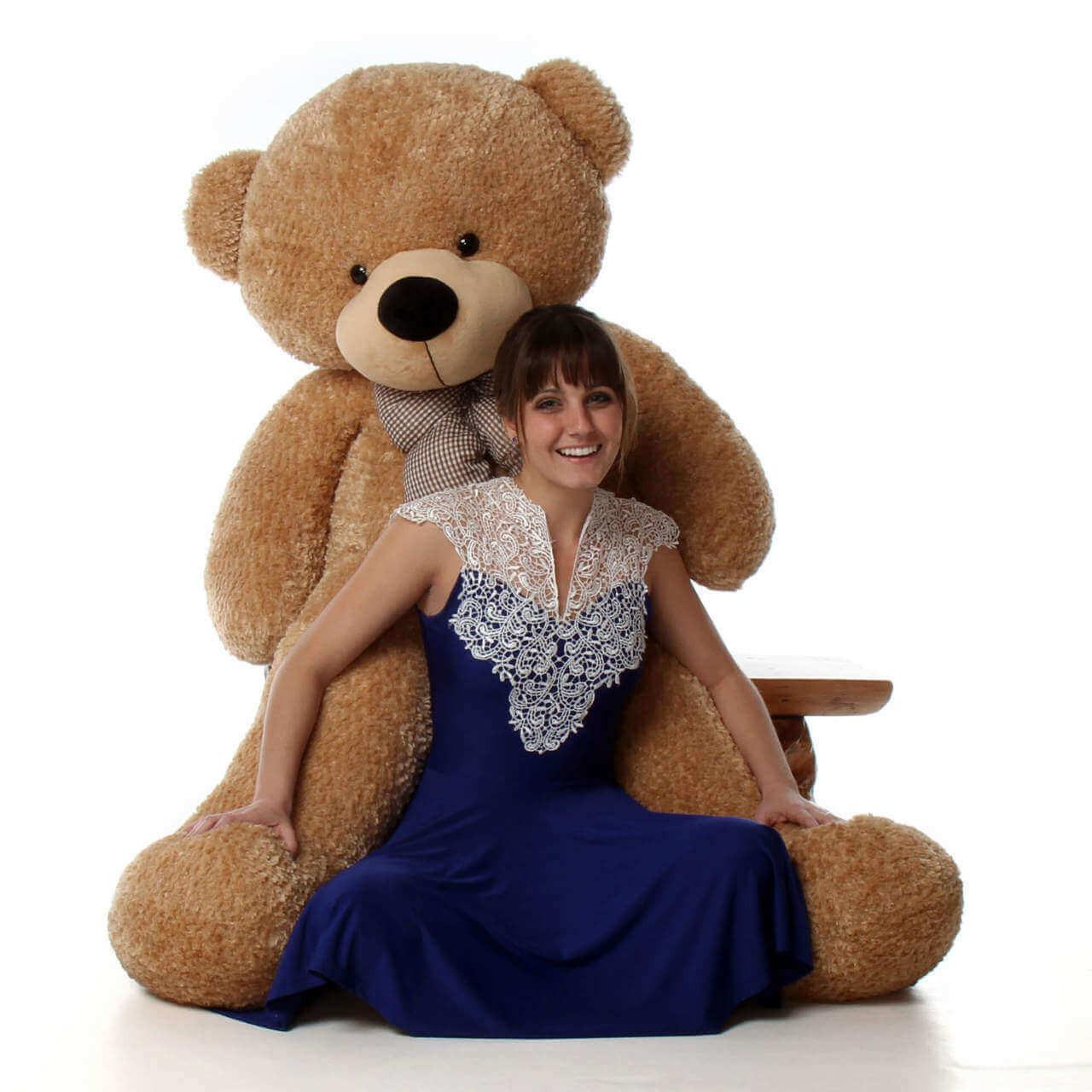 5ft Life Size Teddy Bear Shaggy Cuddles soft amber brown fur