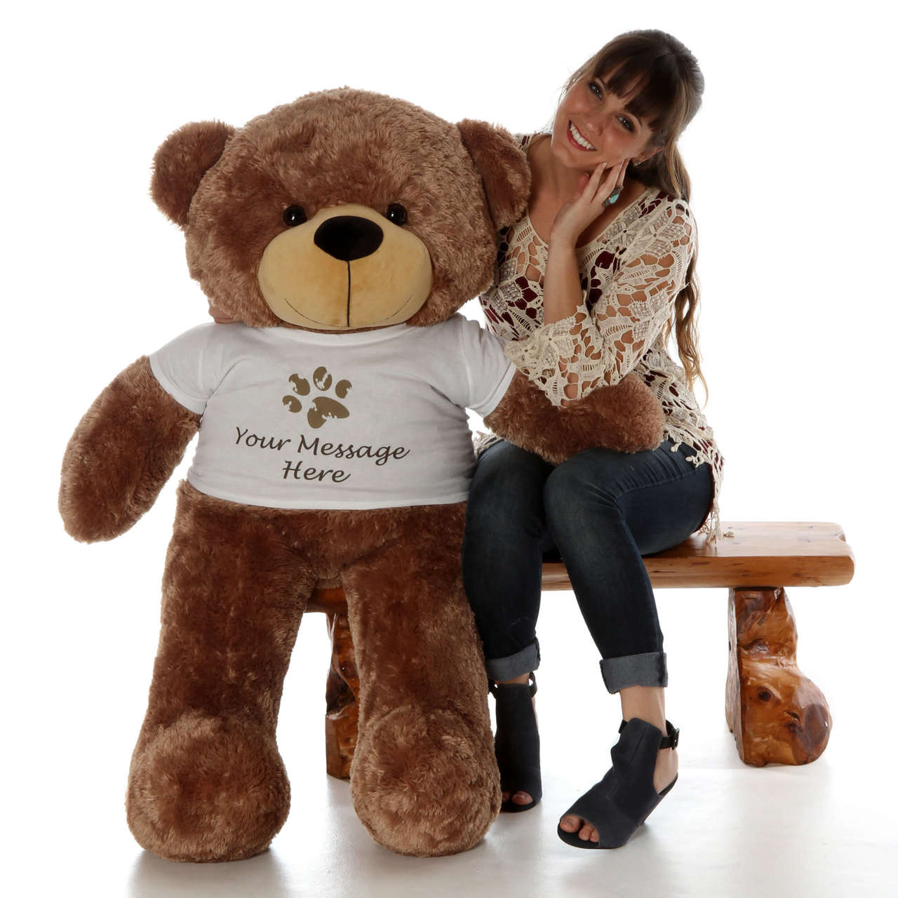 Big Mocha Brown Sunny Cuddles 48 inch Personalized Teddy Bear with Paw Stamp T-shirt is ready to visit his new home.