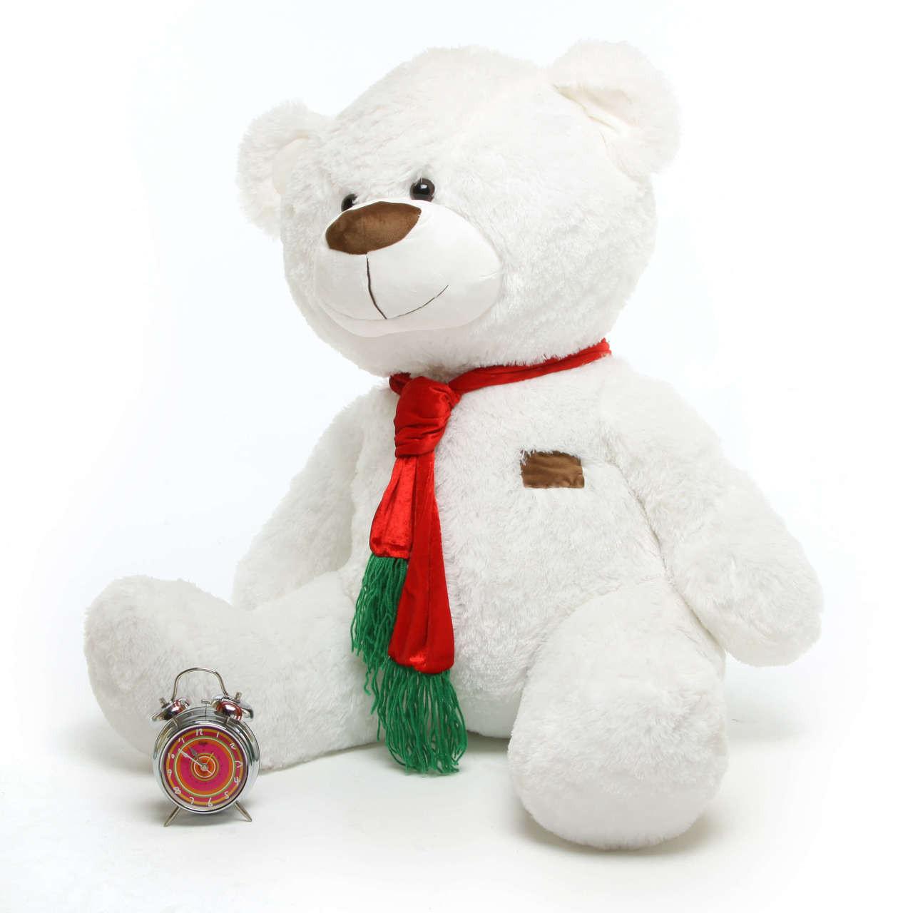 Waldo Holiday Shags white teddy bear 45in