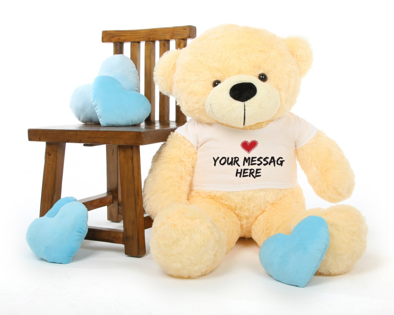 Cozy Cuddles 38 inch Cream Personalized Teddy Bear with Heart Stamp T-shirt