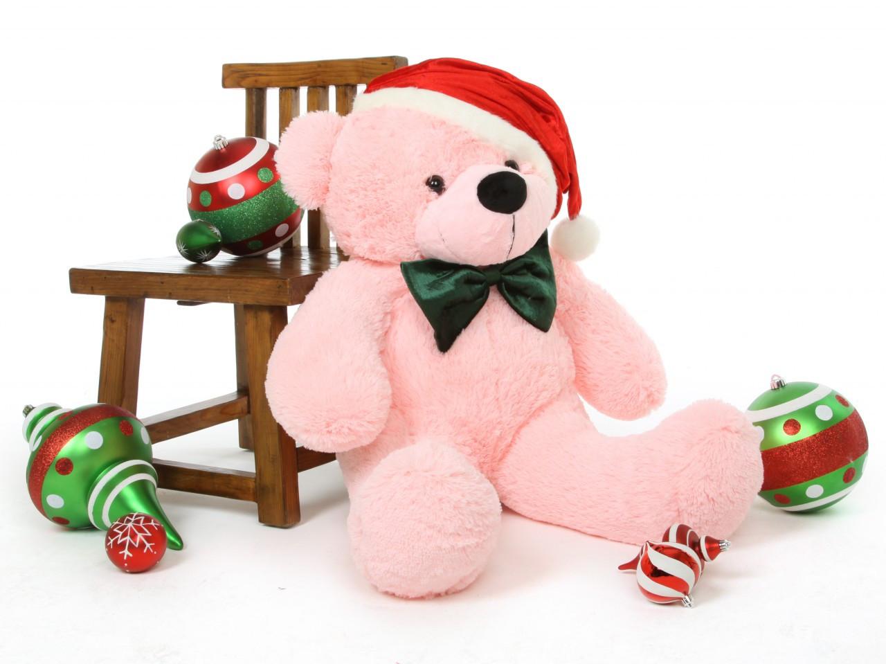 Lady Christmas Cuddles 38in Pink Holiday Teddy Bear